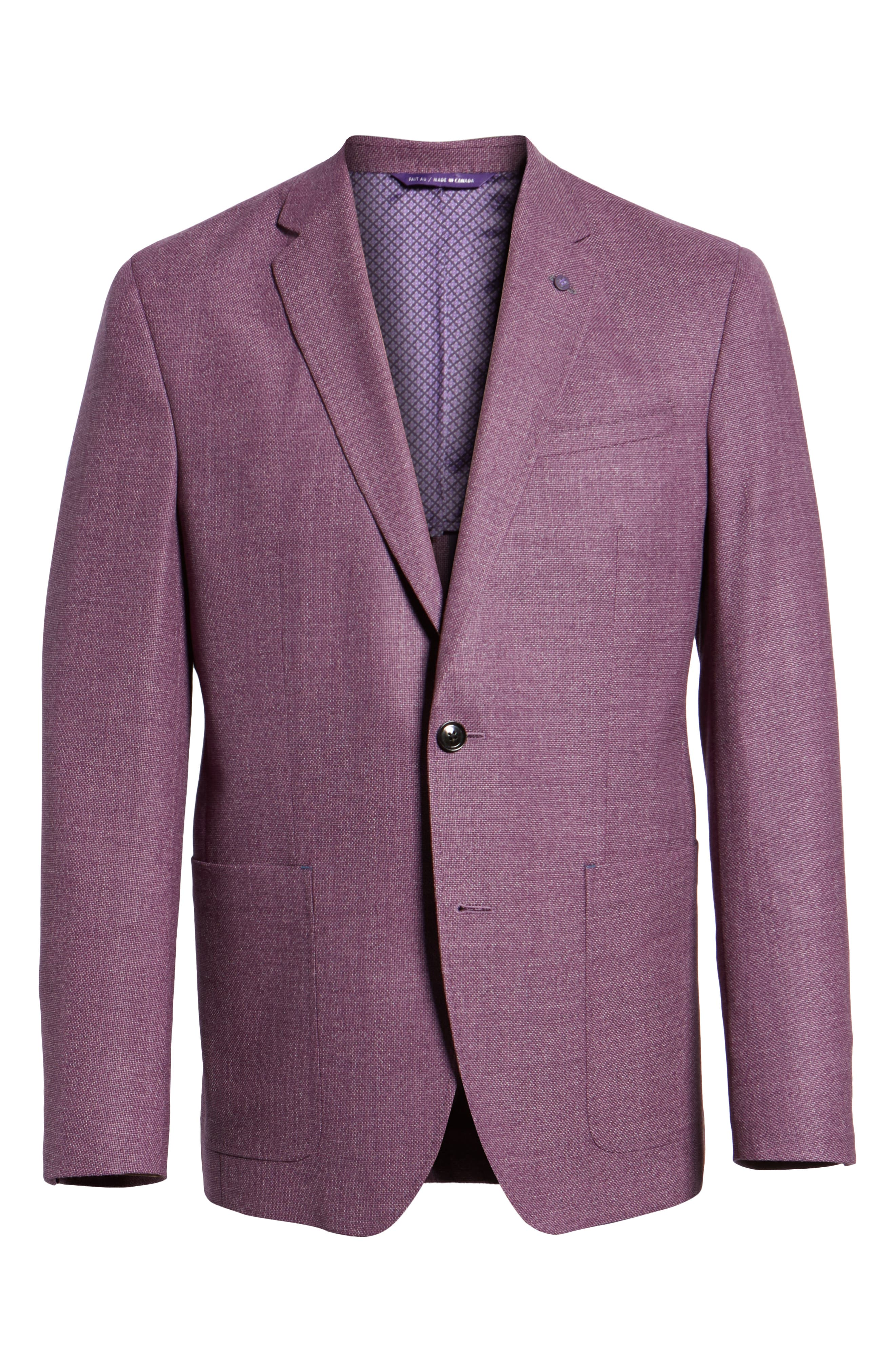 TED BAKER LONDON, Kyle Trim Fit Wool Sport Coat, Alternate thumbnail 5, color, BERRY