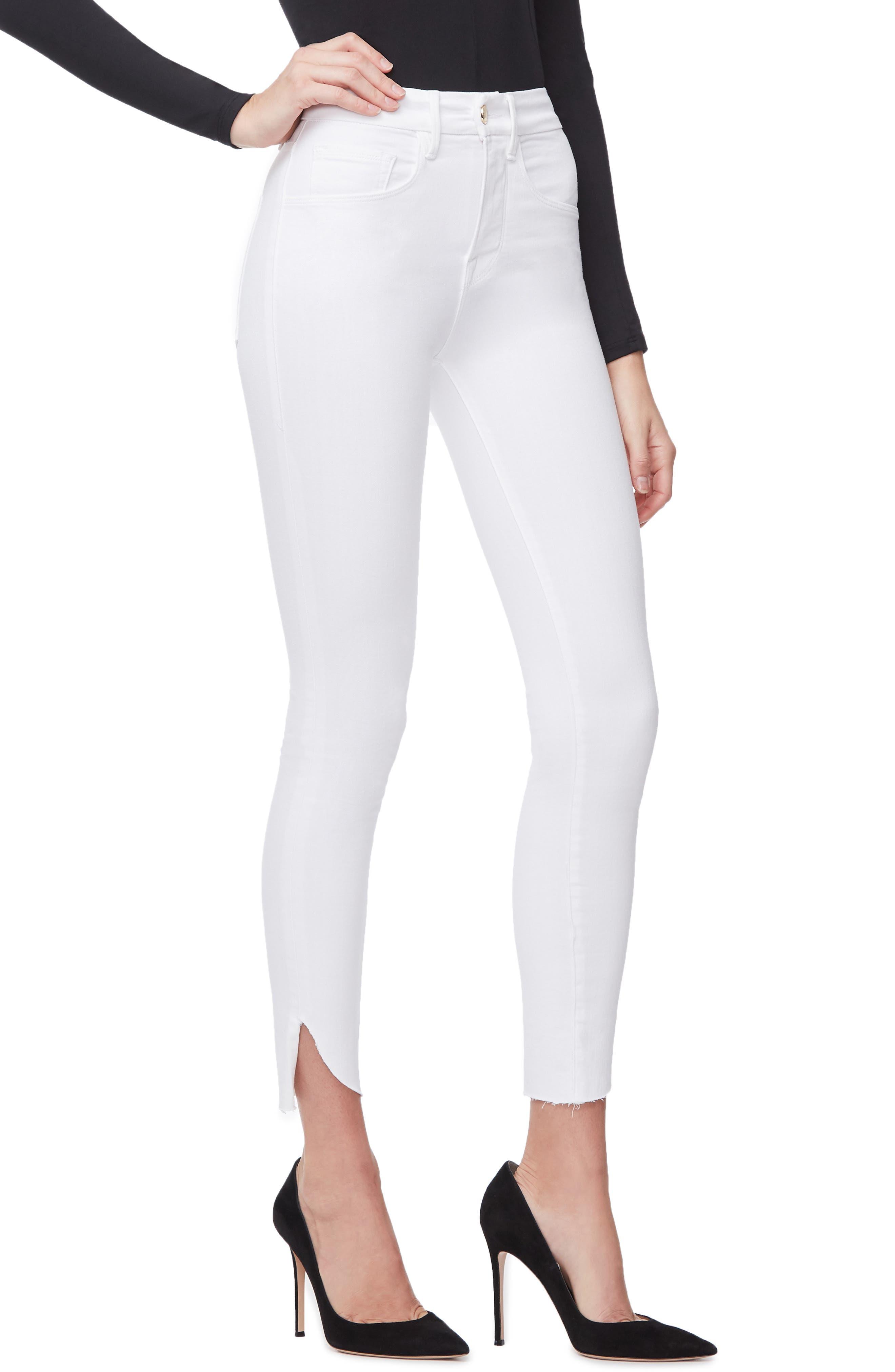 GOOD AMERICAN, Good Legs Cascade Hem Skinny Jeans, Alternate thumbnail 5, color, WHITE001