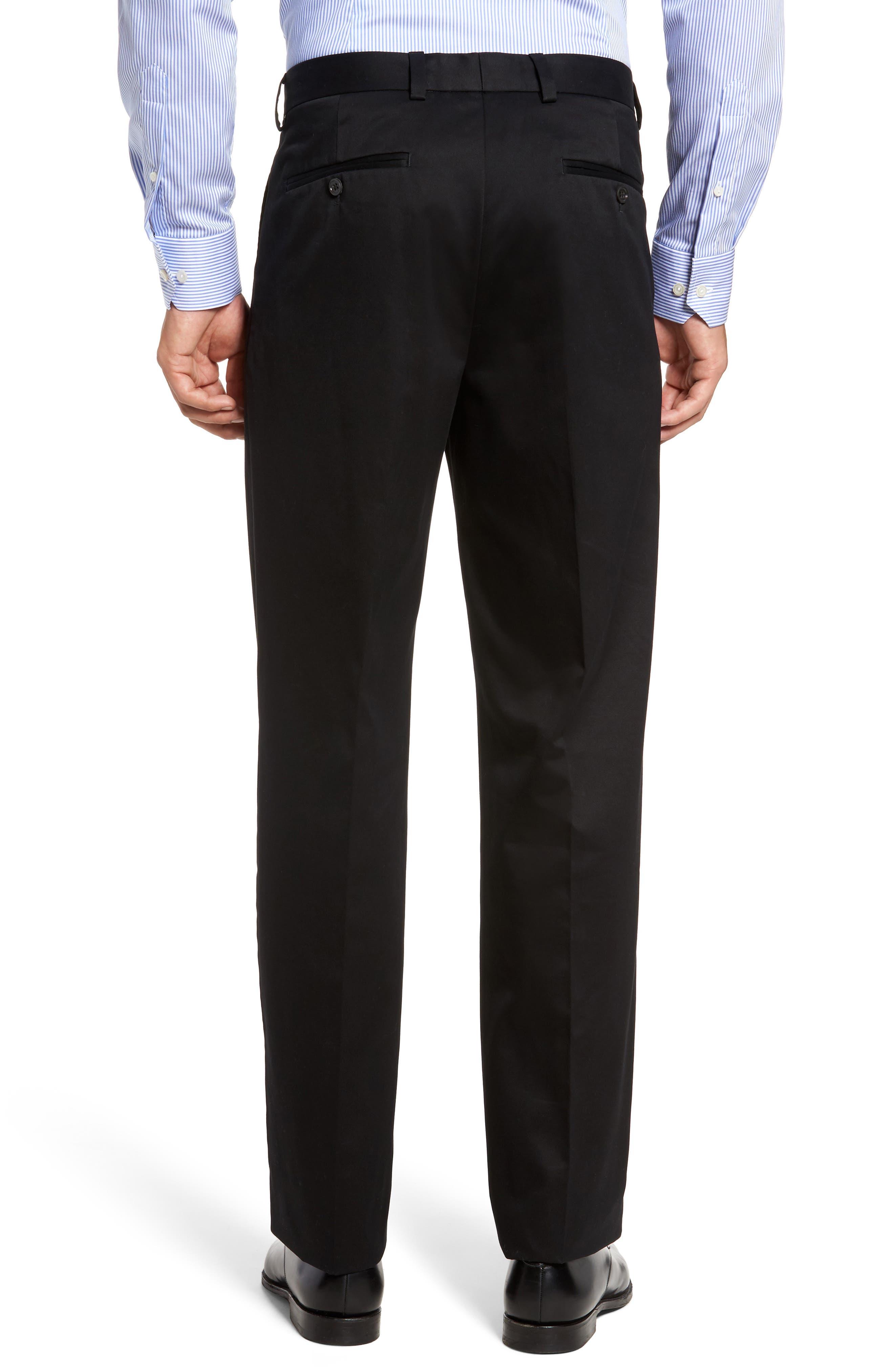 NORDSTROM MEN'S SHOP, 'Classic' Smartcare<sup>™</sup> Relaxed Fit Double Pleated Cotton Pants, Alternate thumbnail 2, color, BLACK