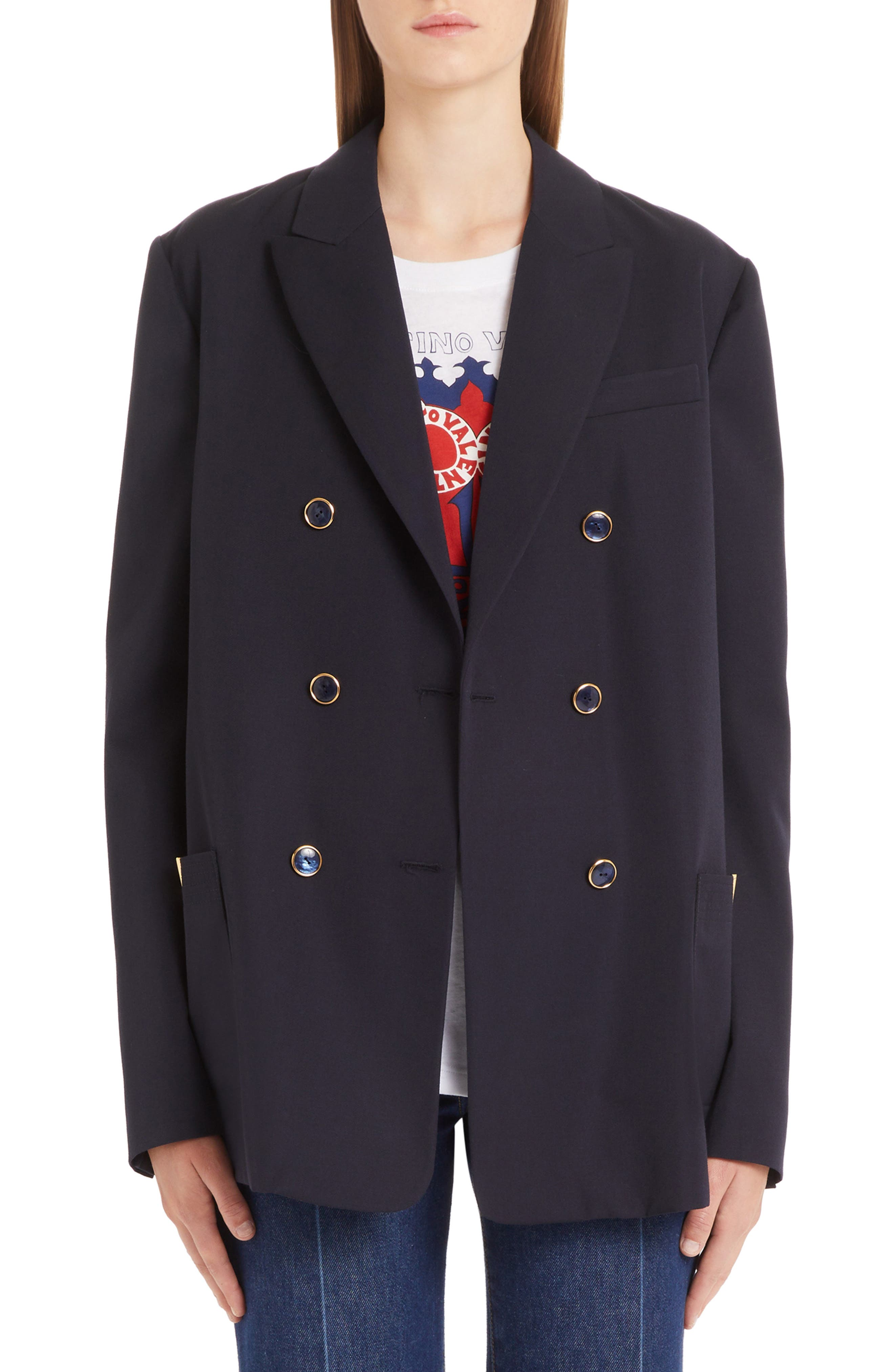 VALENTINO, V-Detail Wool Gabardine Jacket, Main thumbnail 1, color, NAVY