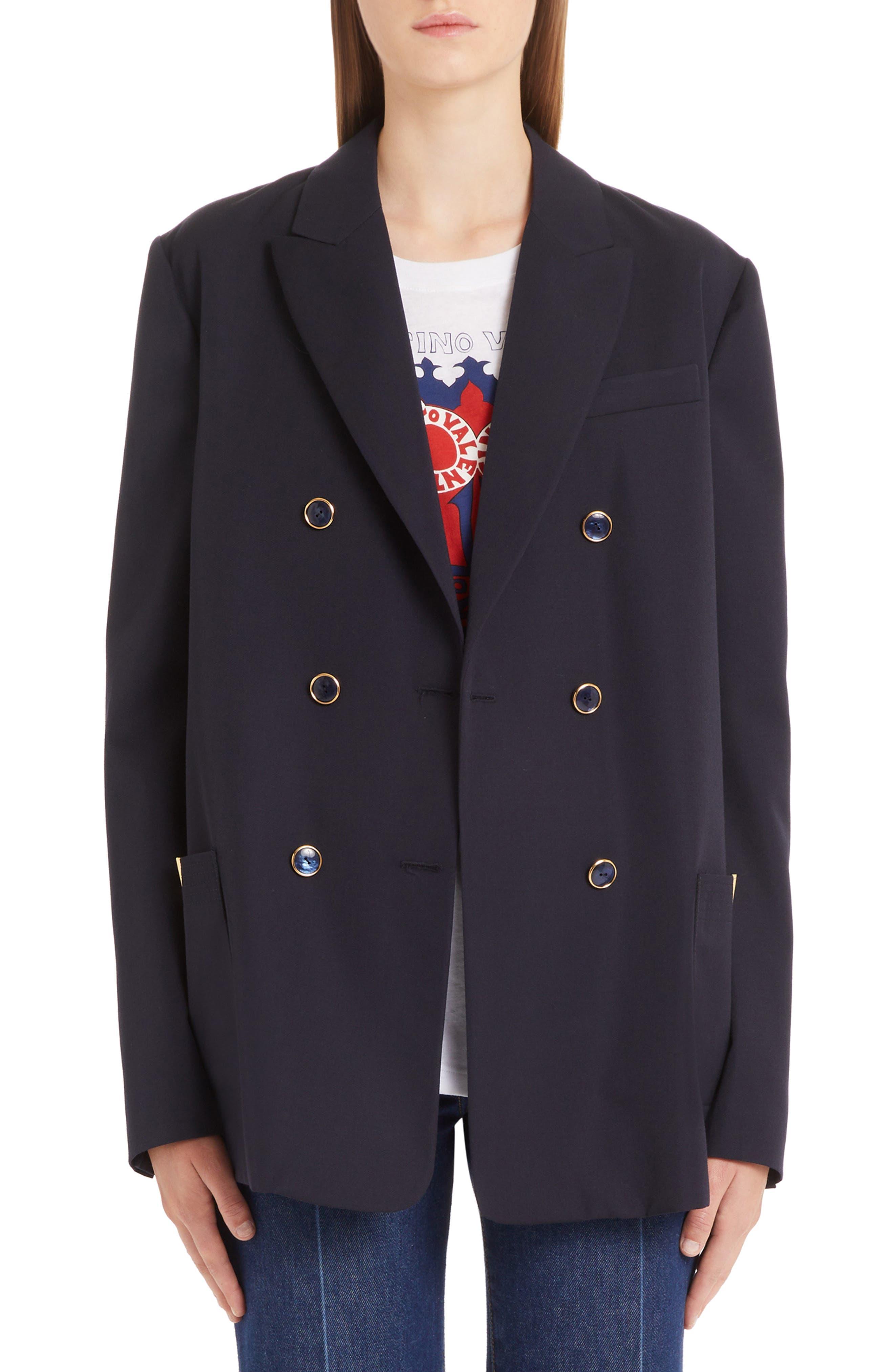 VALENTINO V-Detail Wool Gabardine Jacket, Main, color, NAVY