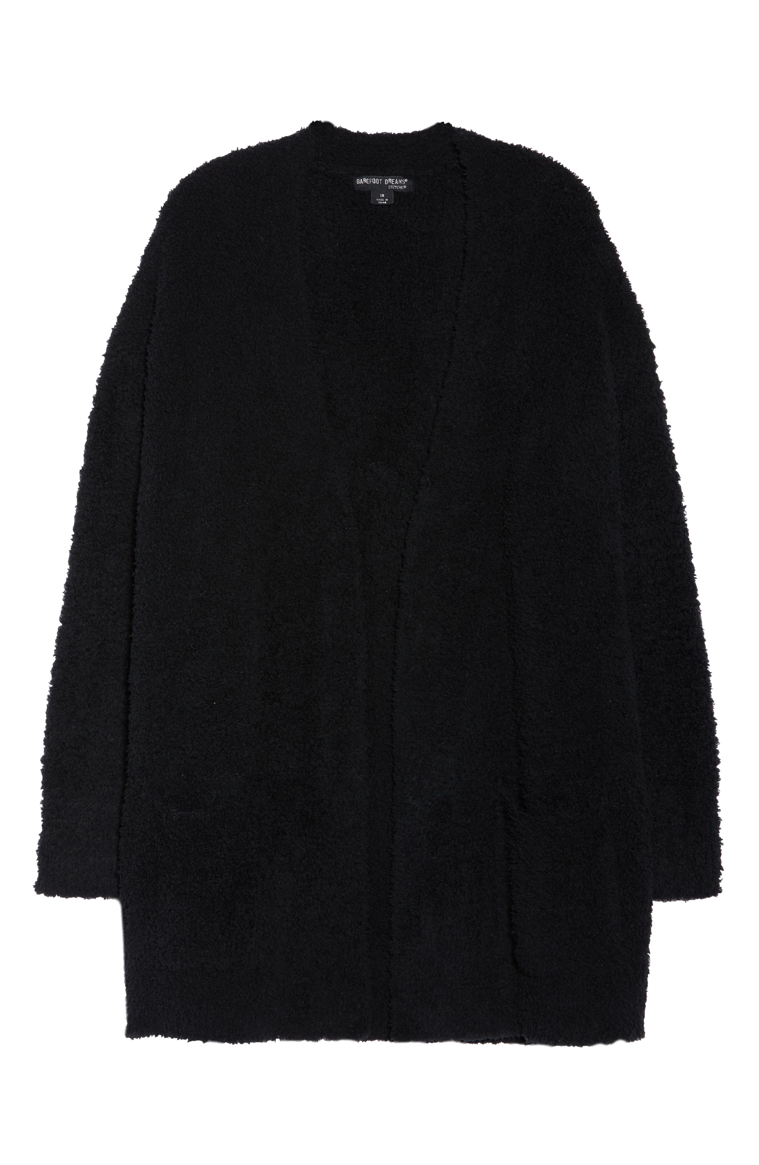 BAREFOOT DREAMS<SUP>®</SUP>, CozyChic<sup>®</sup> Cardigan, Alternate thumbnail 6, color, BLACK