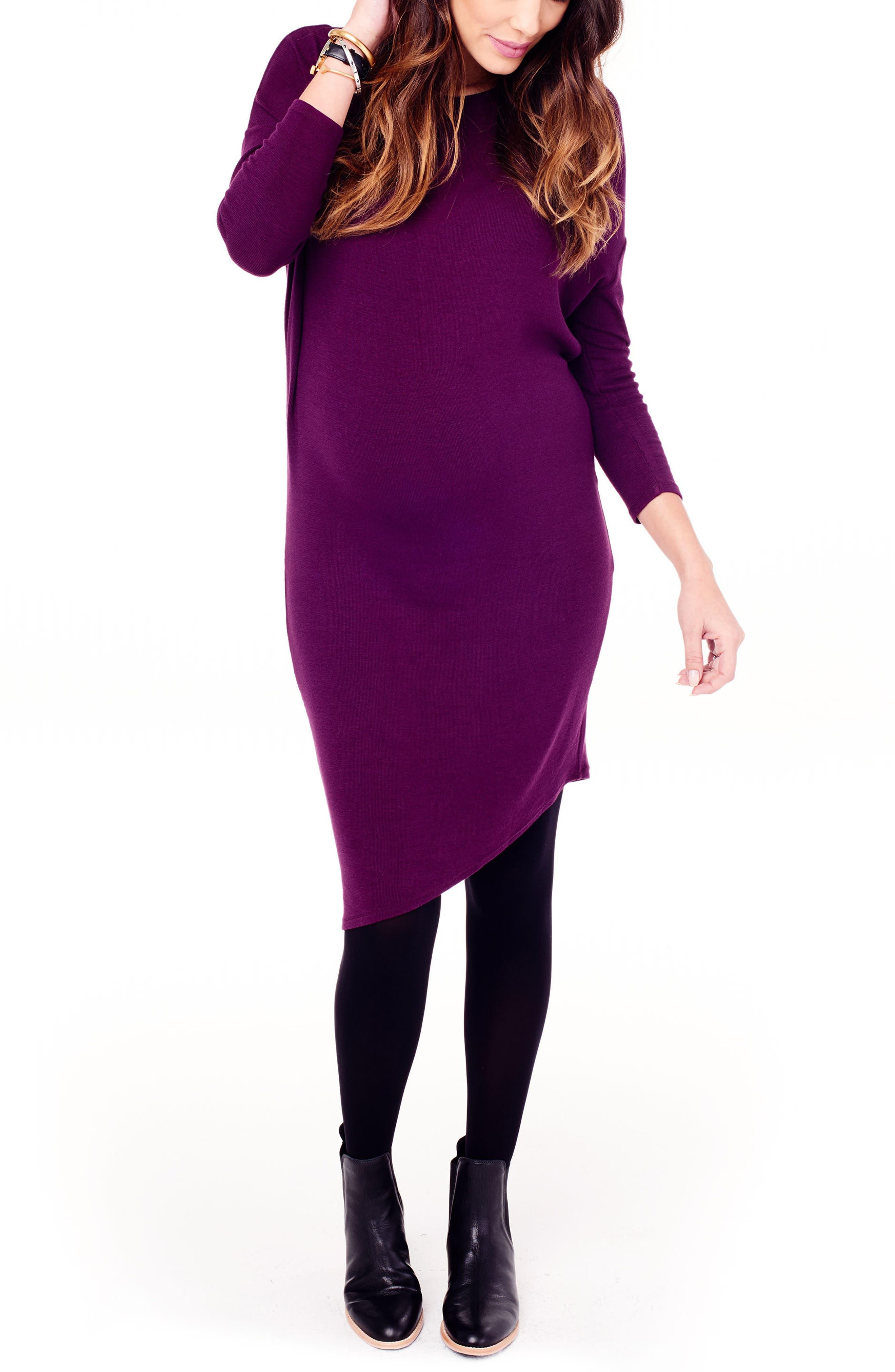 INGRID & ISABEL<SUP>®</SUP> Asymmetrical Maternity Dress, Main, color, PLUM