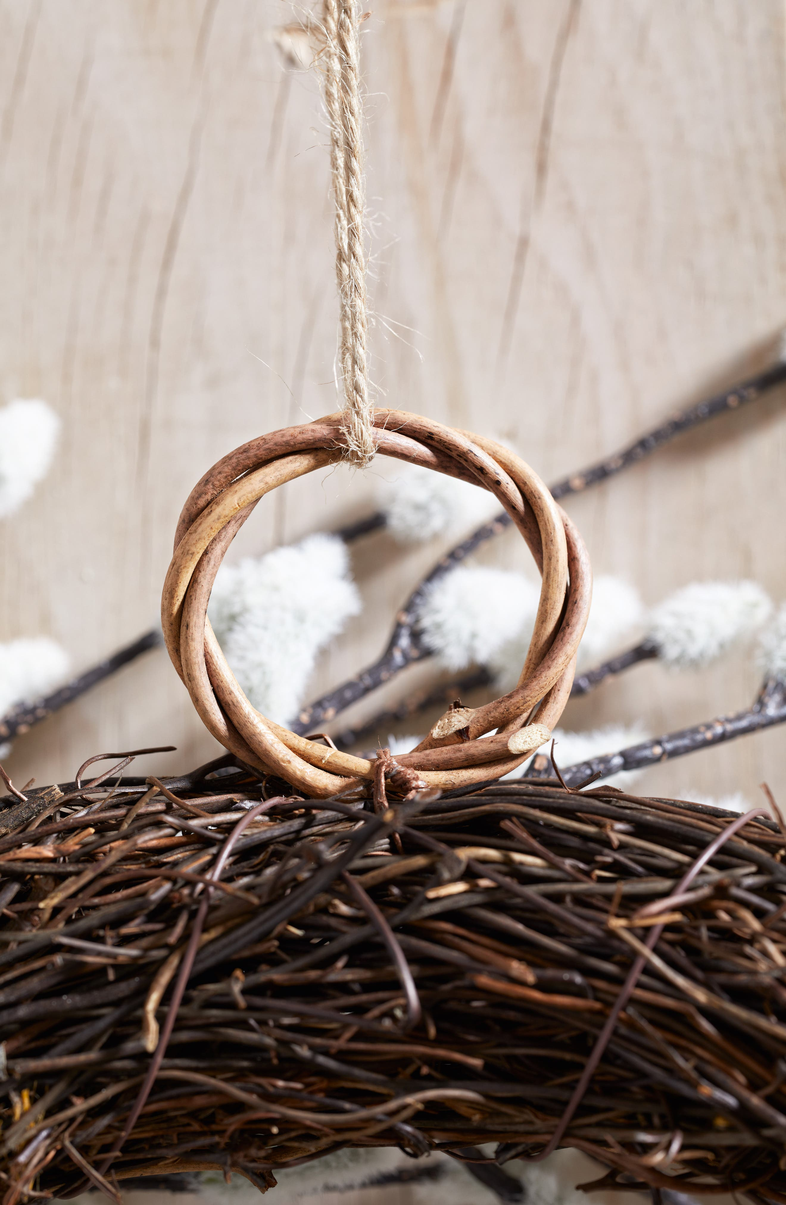 THE WHITE COMPANY, Pussy Willow Wreath, Alternate thumbnail 3, color, NATURAL