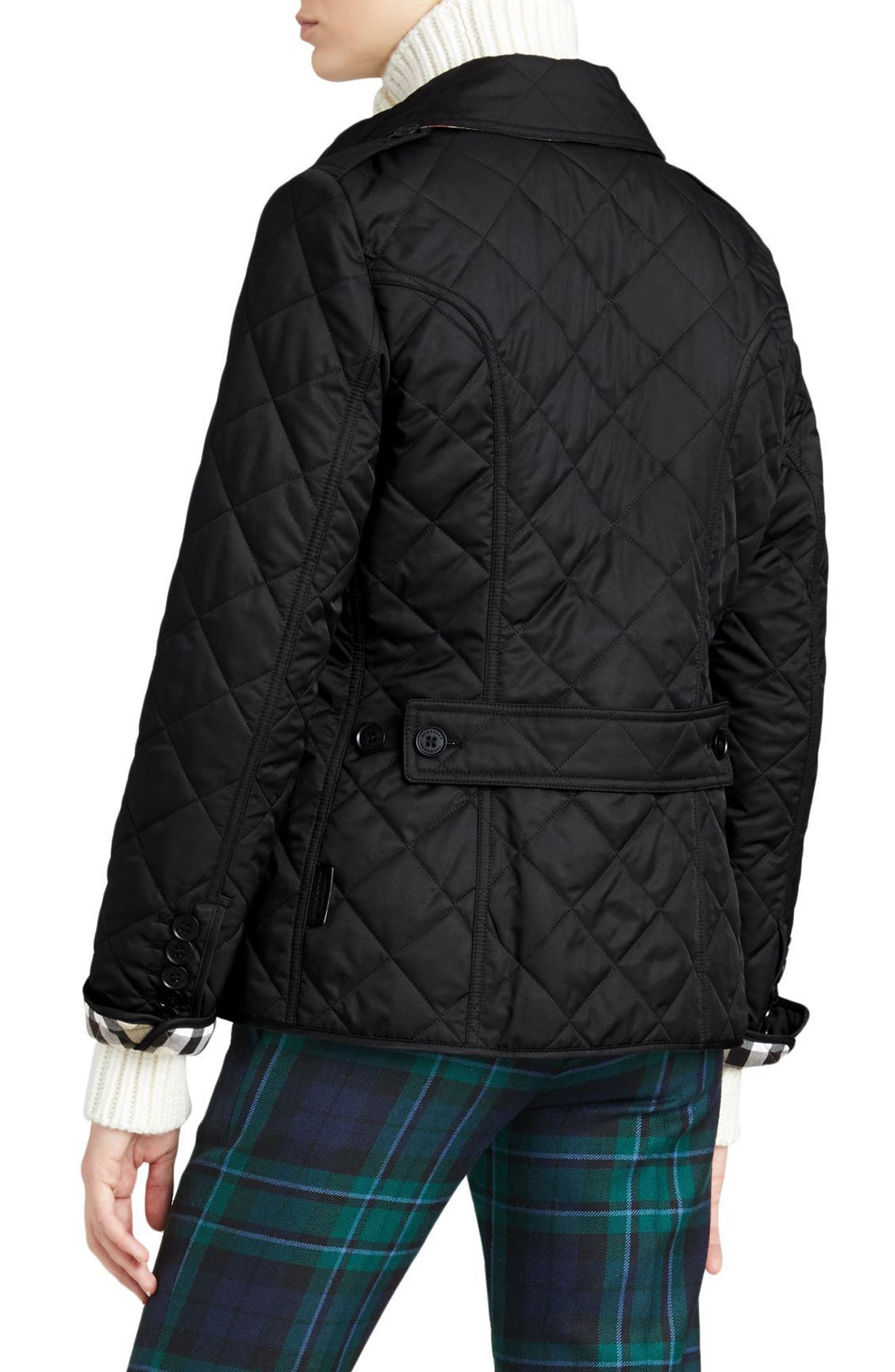 BURBERRY, Frankby Quilted Jacket, Alternate thumbnail 2, color, 001