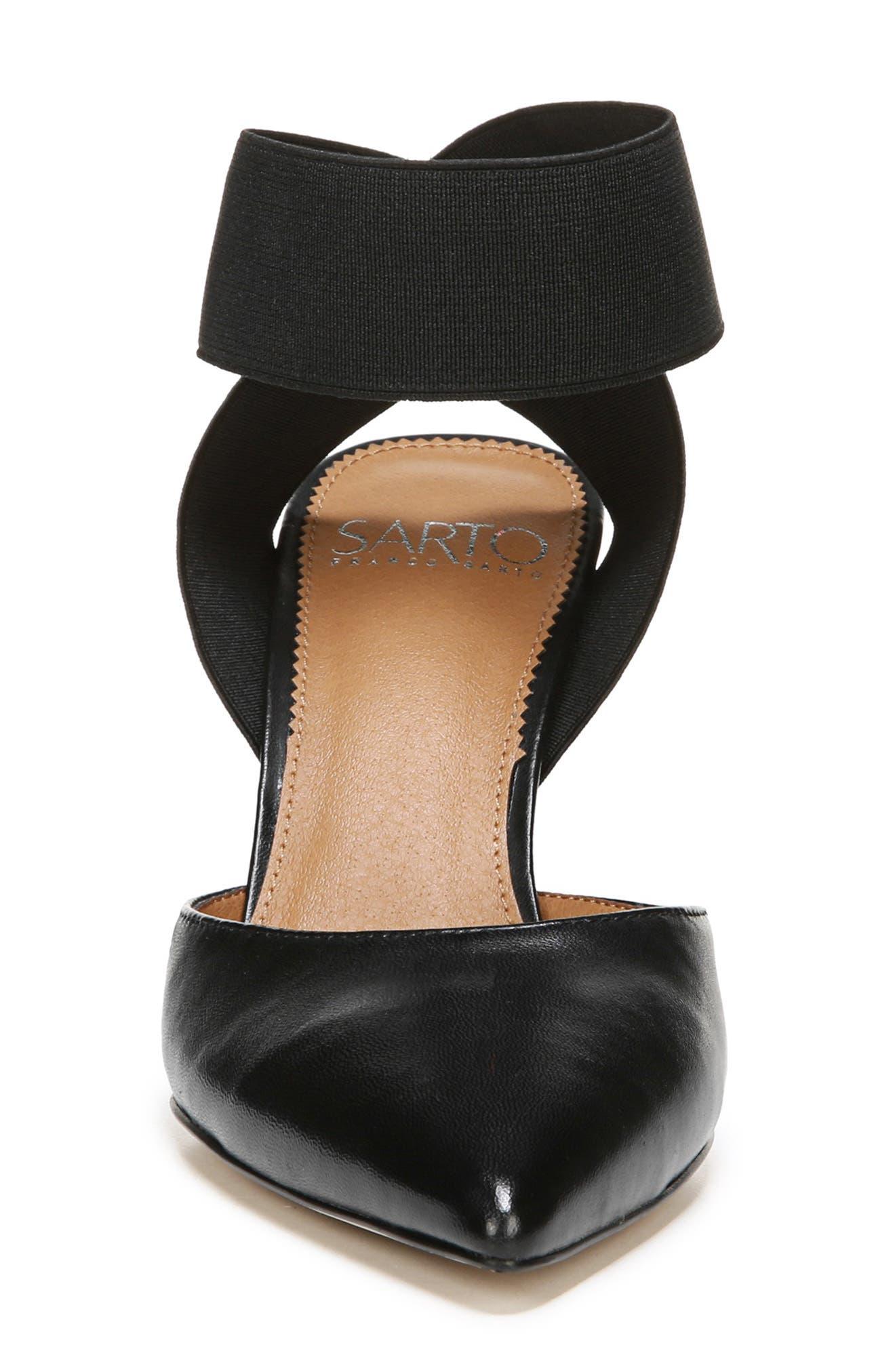 SARTO BY FRANCO SARTO, Stella Ankle Wrap Pump, Alternate thumbnail 4, color, BLACK LEATHER
