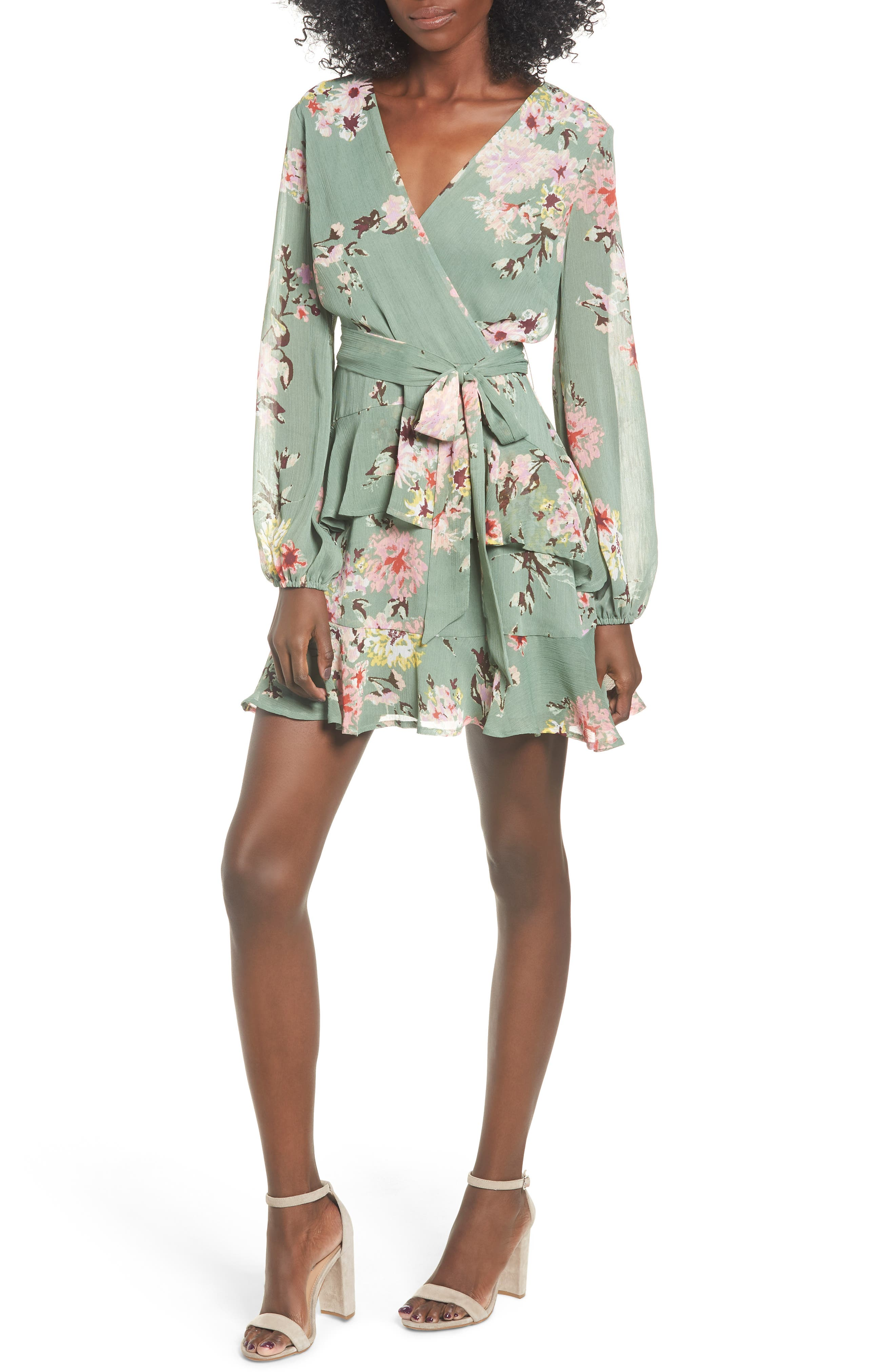 LOVE, FIRE Tiered Wrap Dress, Main, color, SAGE/ MULTI ABSTRACT FLORAL