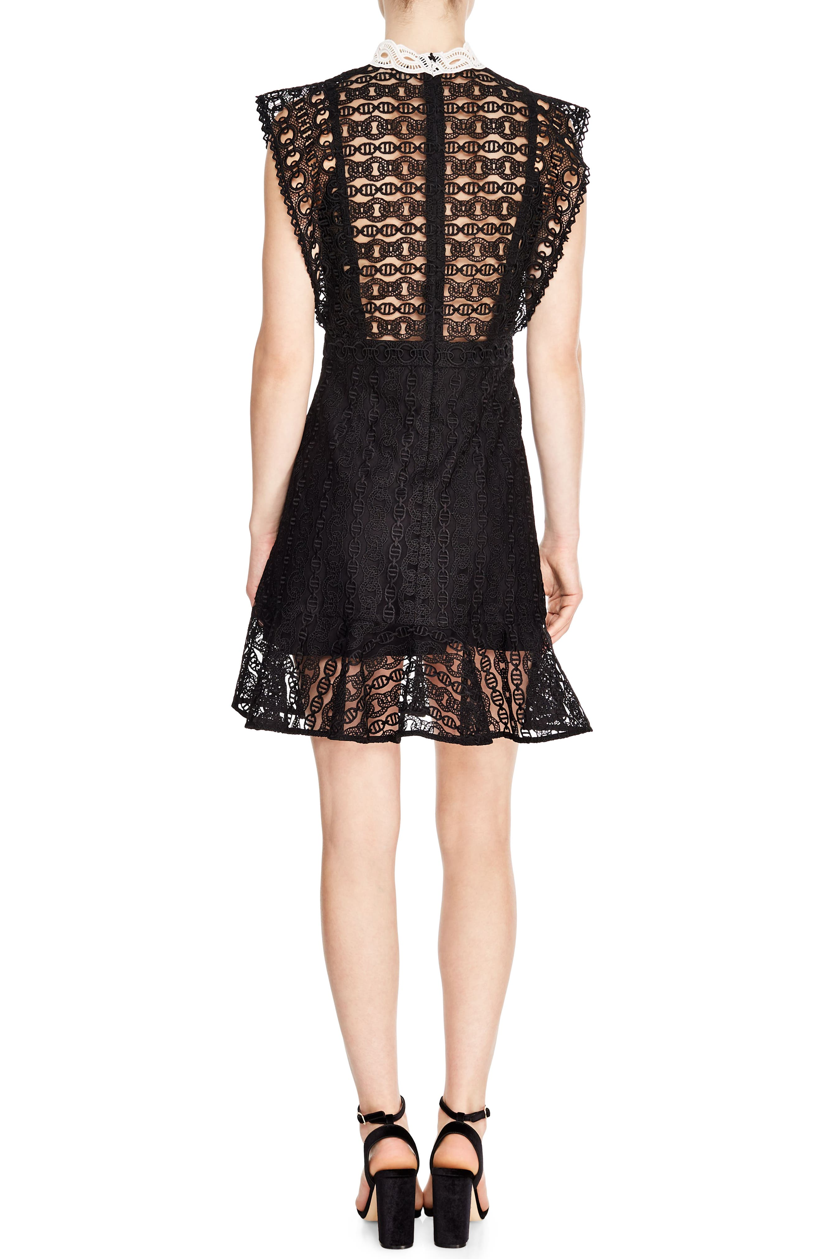 SANDRO, France Chain Link Lace Dress, Alternate thumbnail 2, color, BLACK