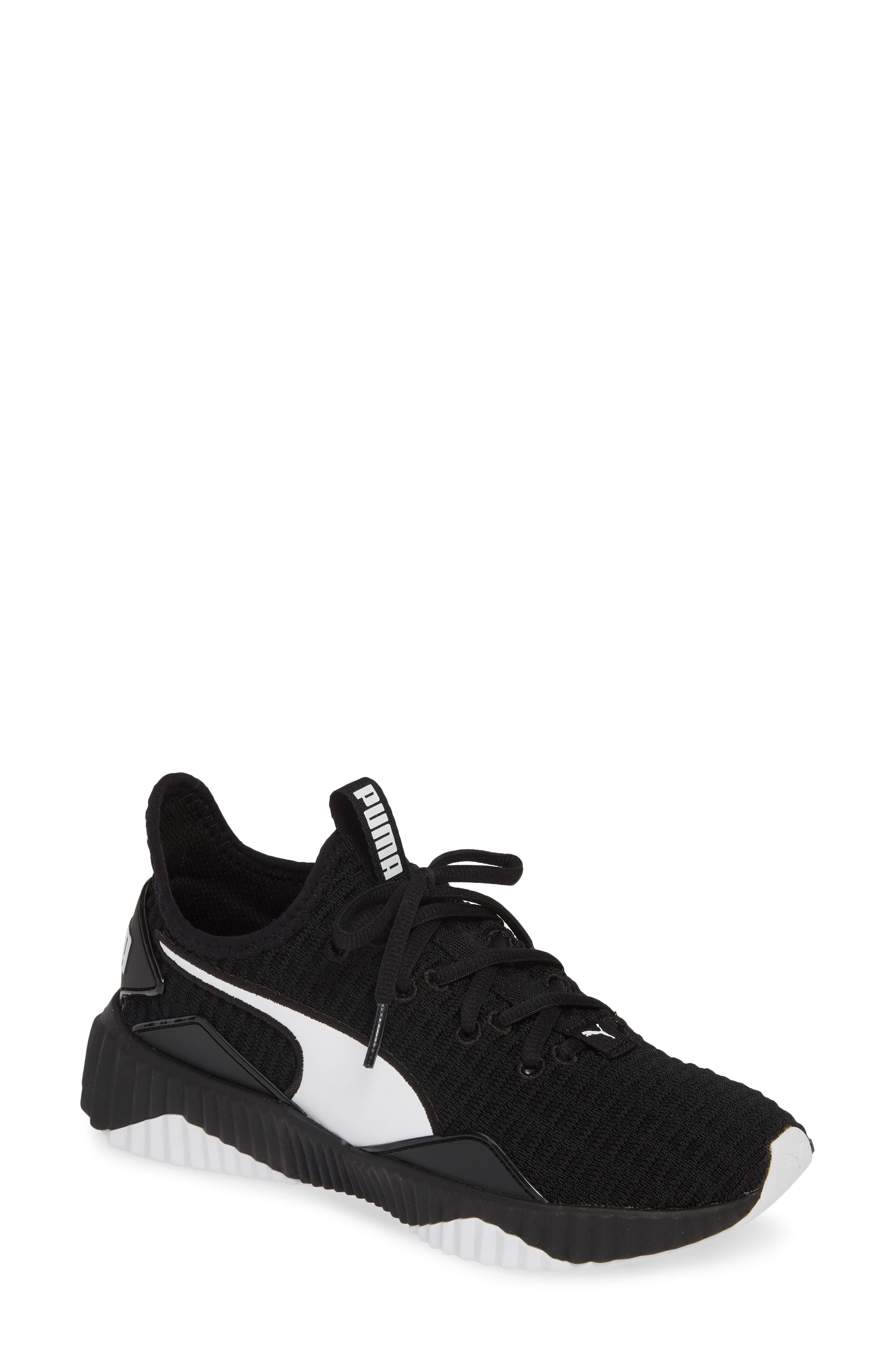 PUMA, Defy Sneaker, Main thumbnail 1, color, BLACK/ WHITE
