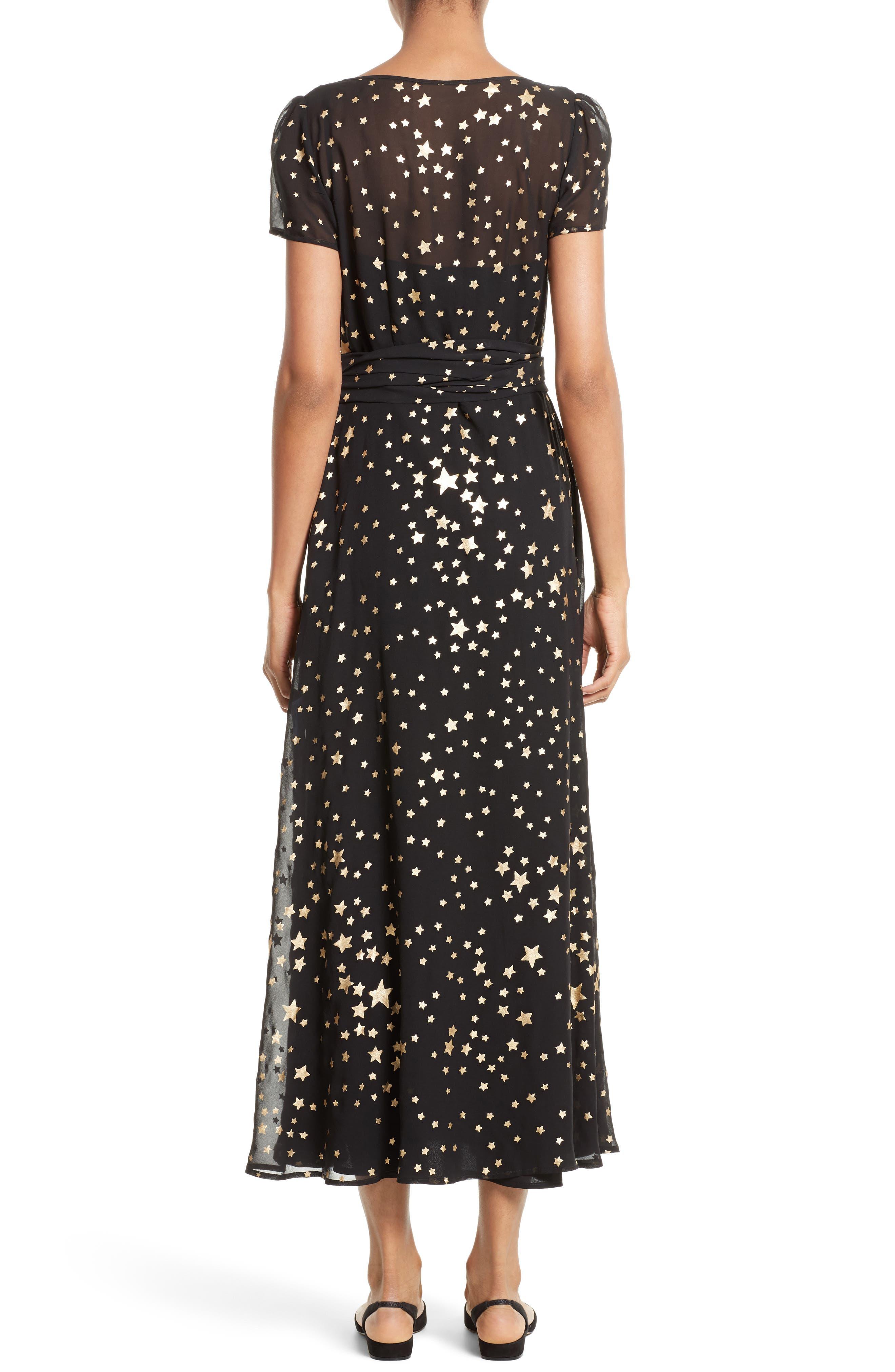 RED VALENTINO, Lamé Star Wrap Maxi Dress, Alternate thumbnail 2, color, 001
