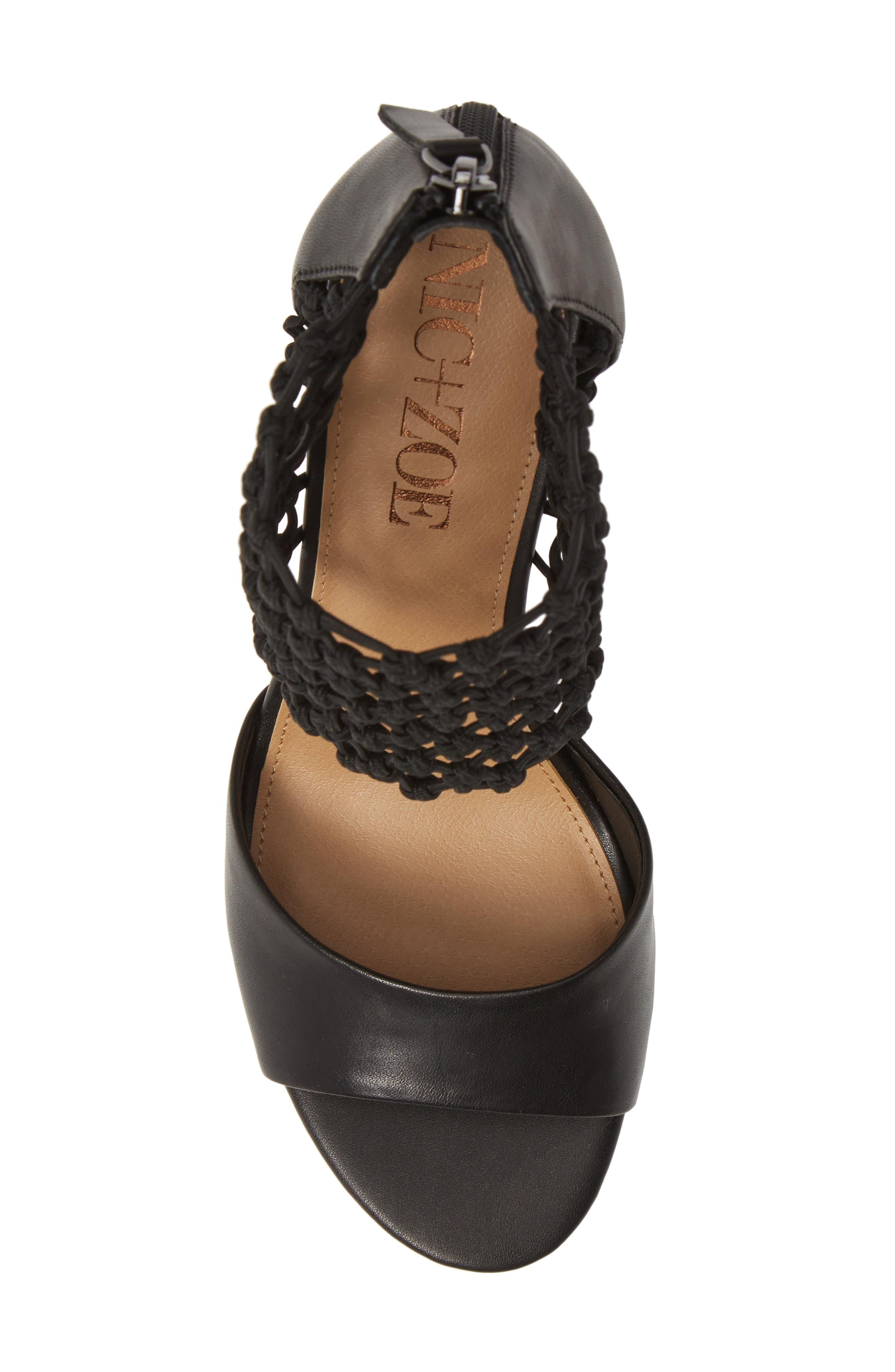 NIC+ZOE, Nobel Net Shield Sandal, Alternate thumbnail 5, color, BLACK LEATHER