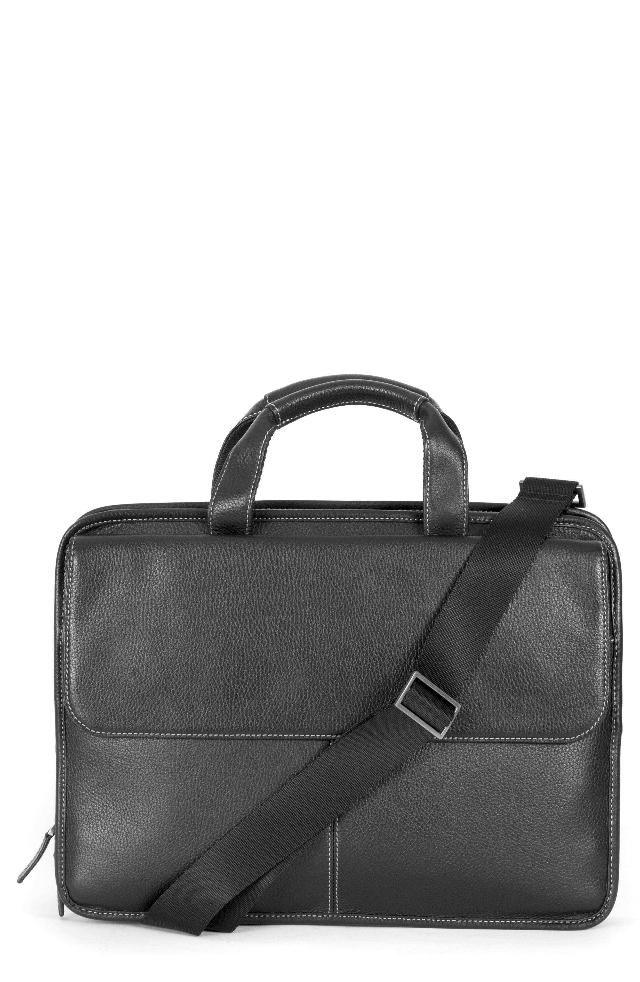 BOCONI Tyler Leather Briefcase, Main, color, BLACK