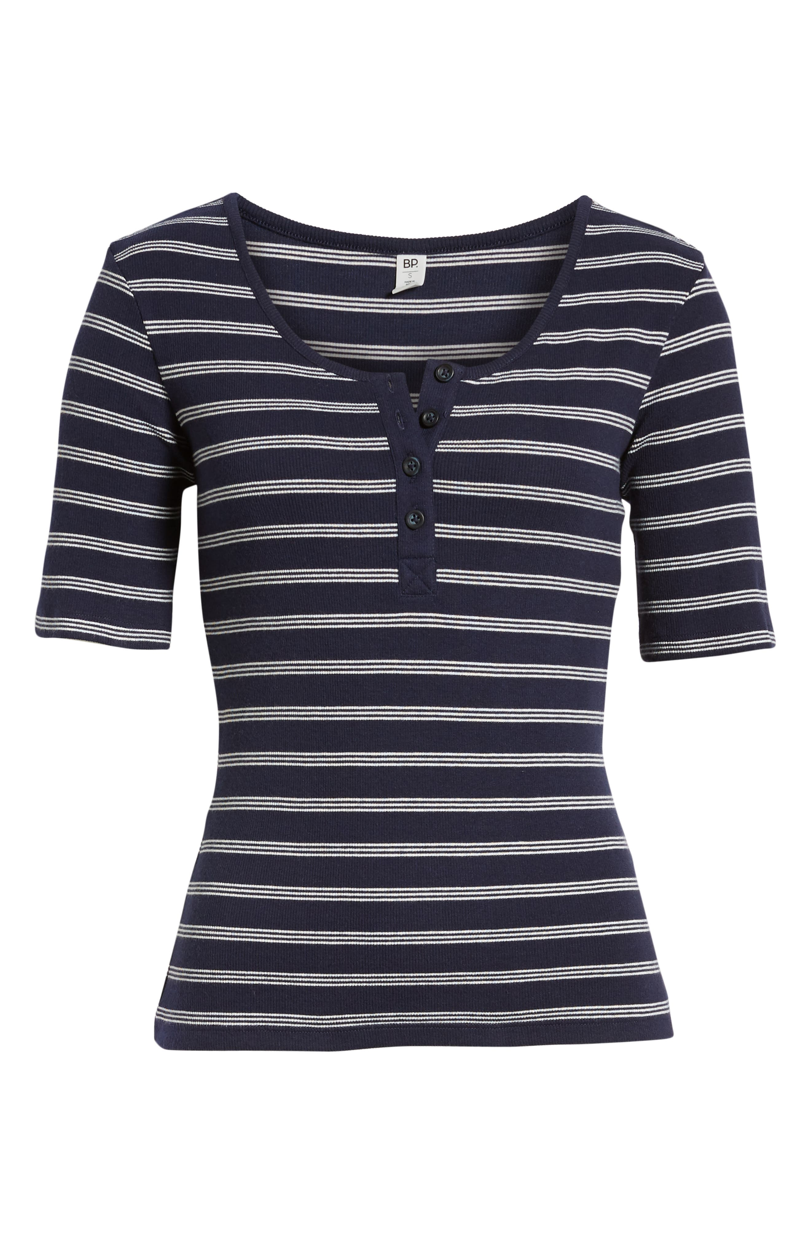 BP., Ribbed Henley Tee, Alternate thumbnail 7, color, NAVY EVENING NANTUCKET STRIPE