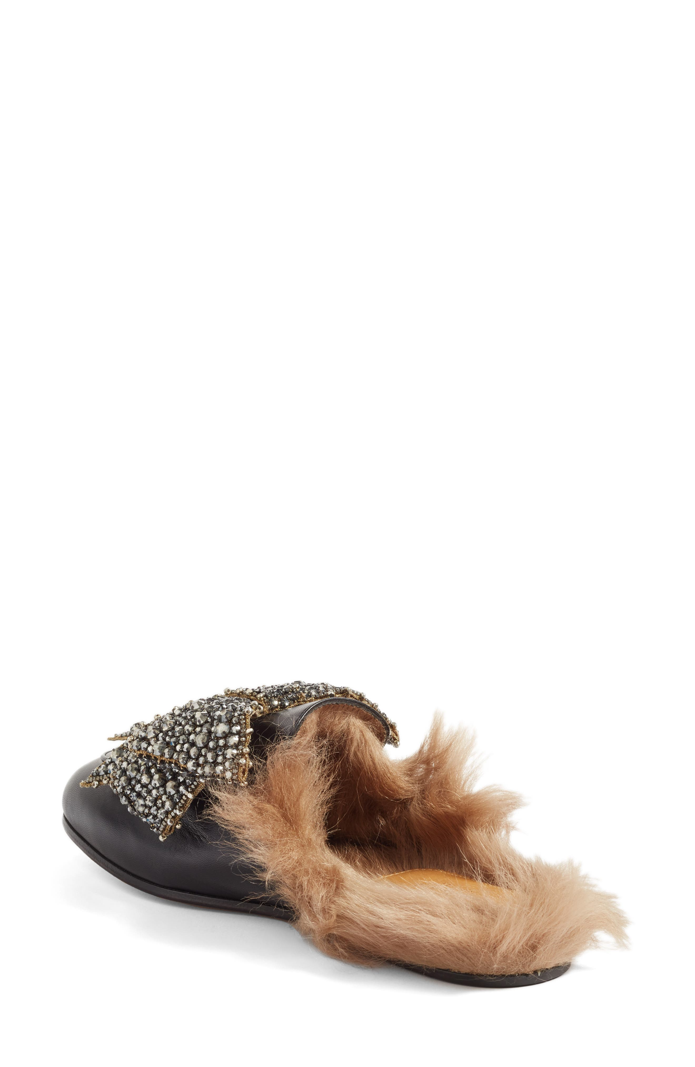 GUCCI, Princetown Genuine Shearling Loafer Mule, Alternate thumbnail 2, color, 009