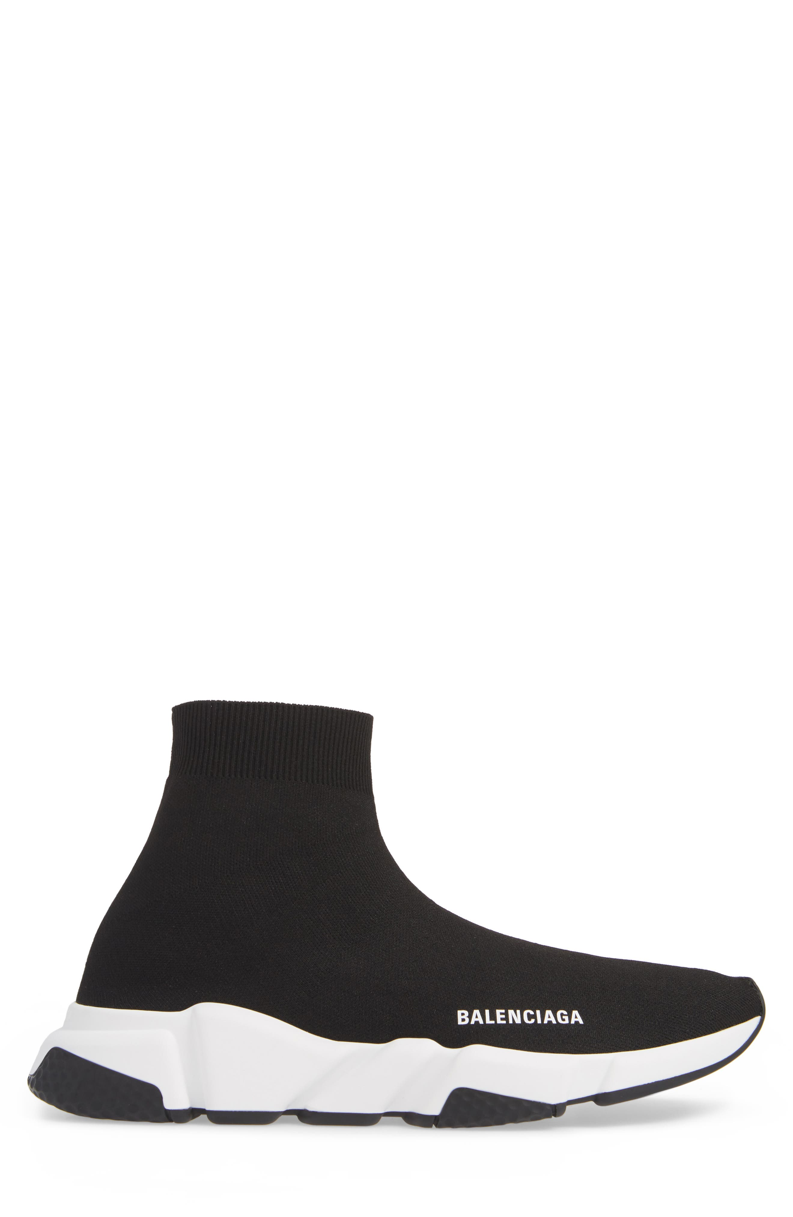 BALENCIAGA, Speed High Slip-On, Alternate thumbnail 3, color, NOIR
