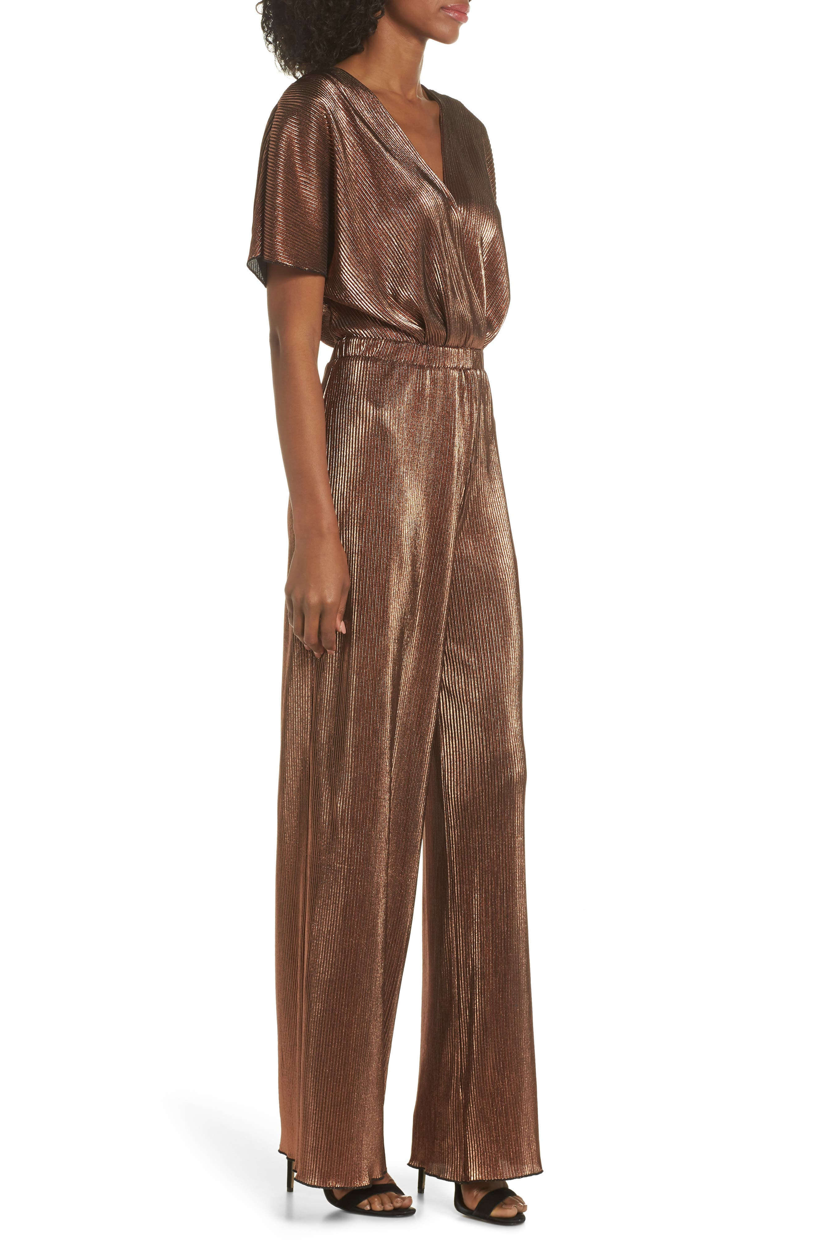 CHARLES HENRY, Crossover Jumpsuit, Alternate thumbnail 4, color, 220