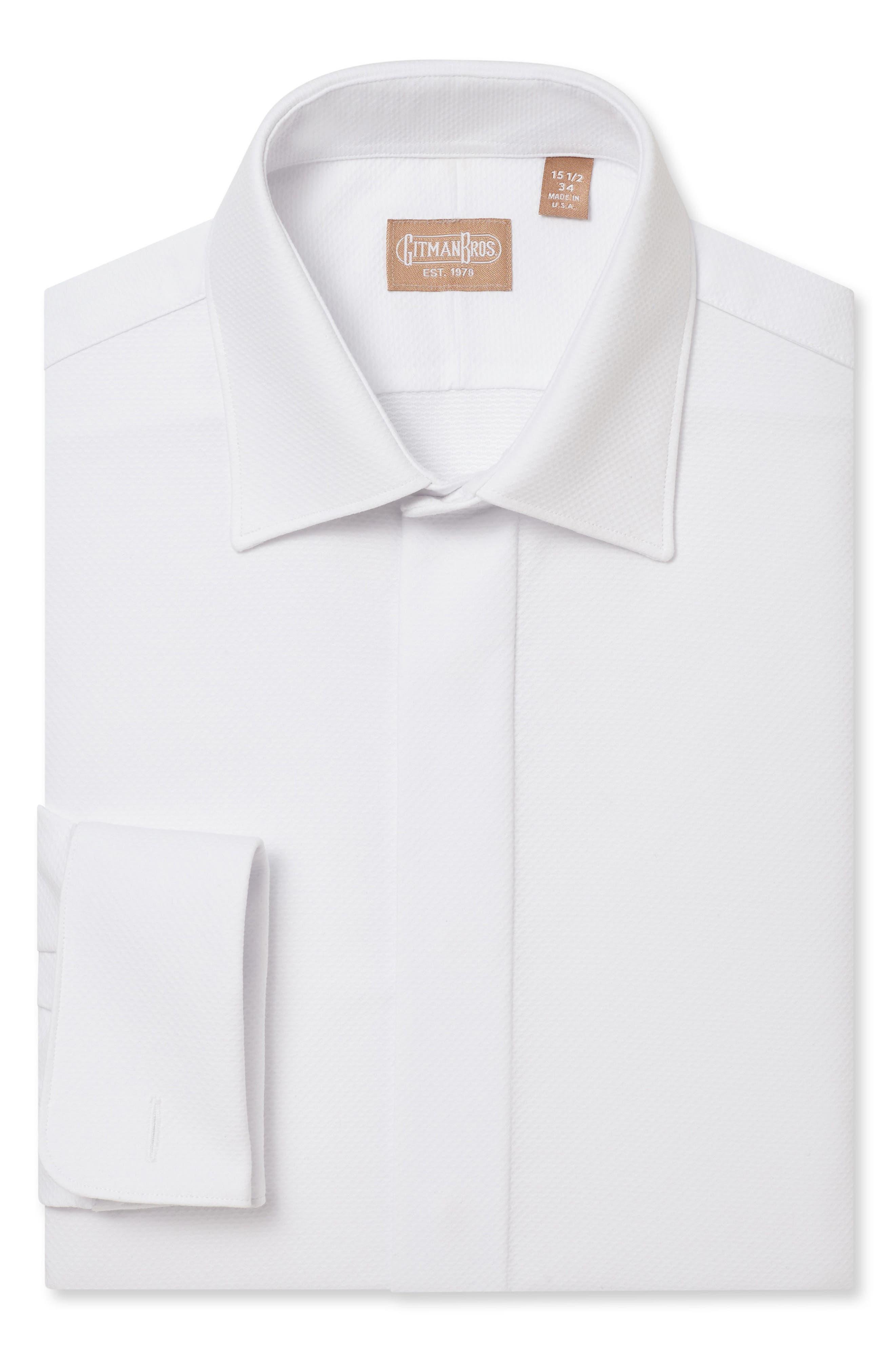 GITMAN Regular Fit Tuxedo Shirt, Main, color, WHITE