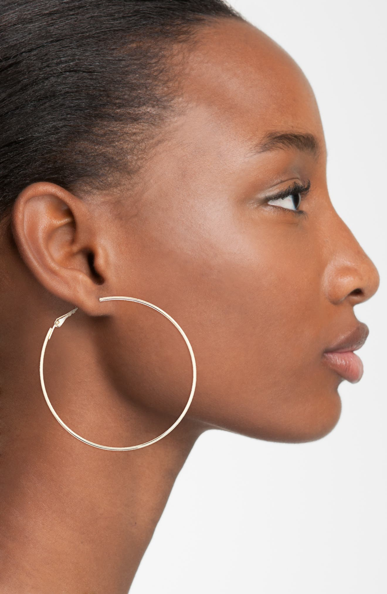 BP., Large Hoop Earrings, Alternate thumbnail 3, color, GOLD