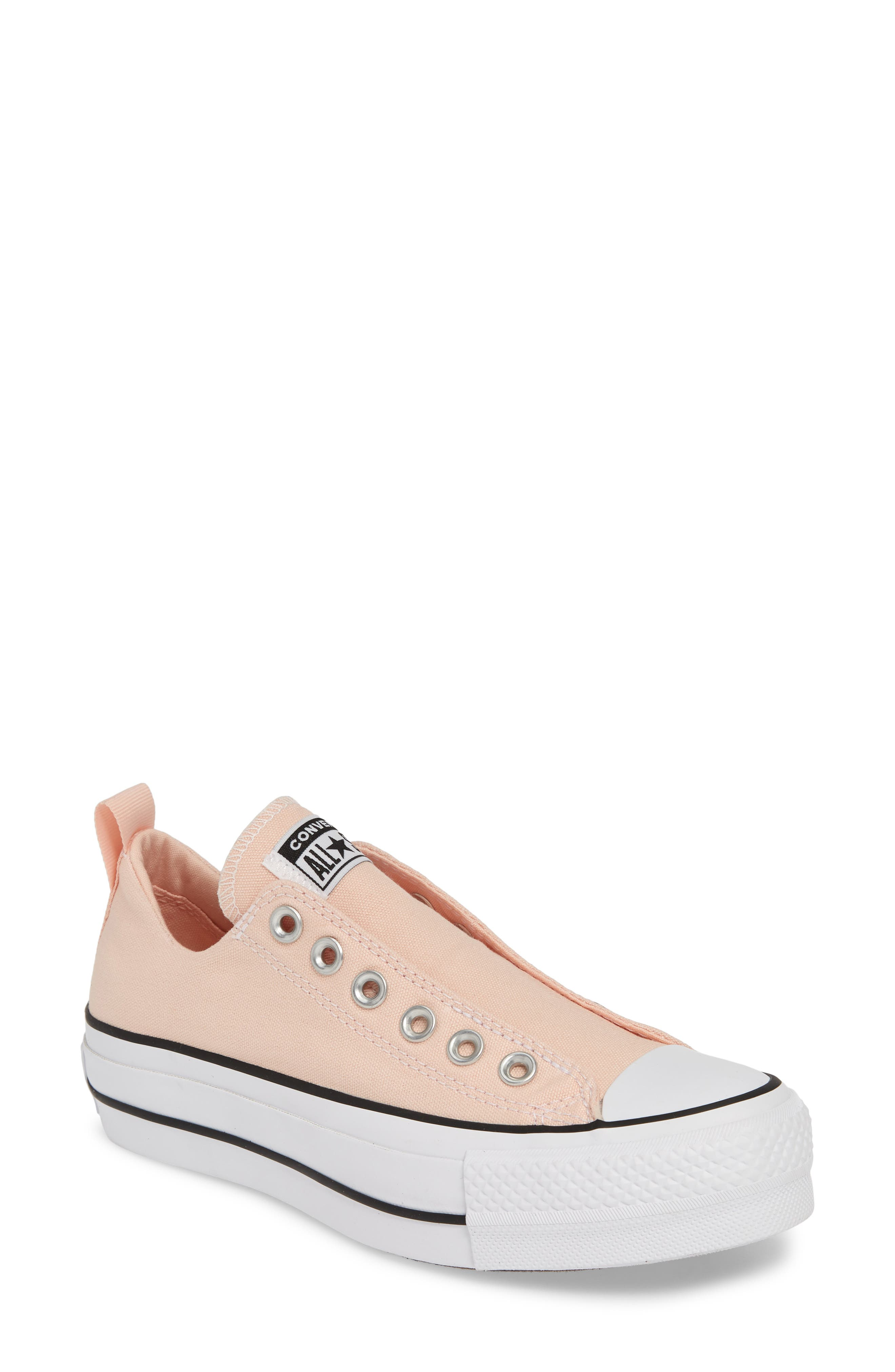 CONVERSE, Chuck Taylor<sup>®</sup> All Star<sup>®</sup> Lift Slip-On Sneaker, Main thumbnail 1, color, WASHED CORAL/ WHITE/ BLACK