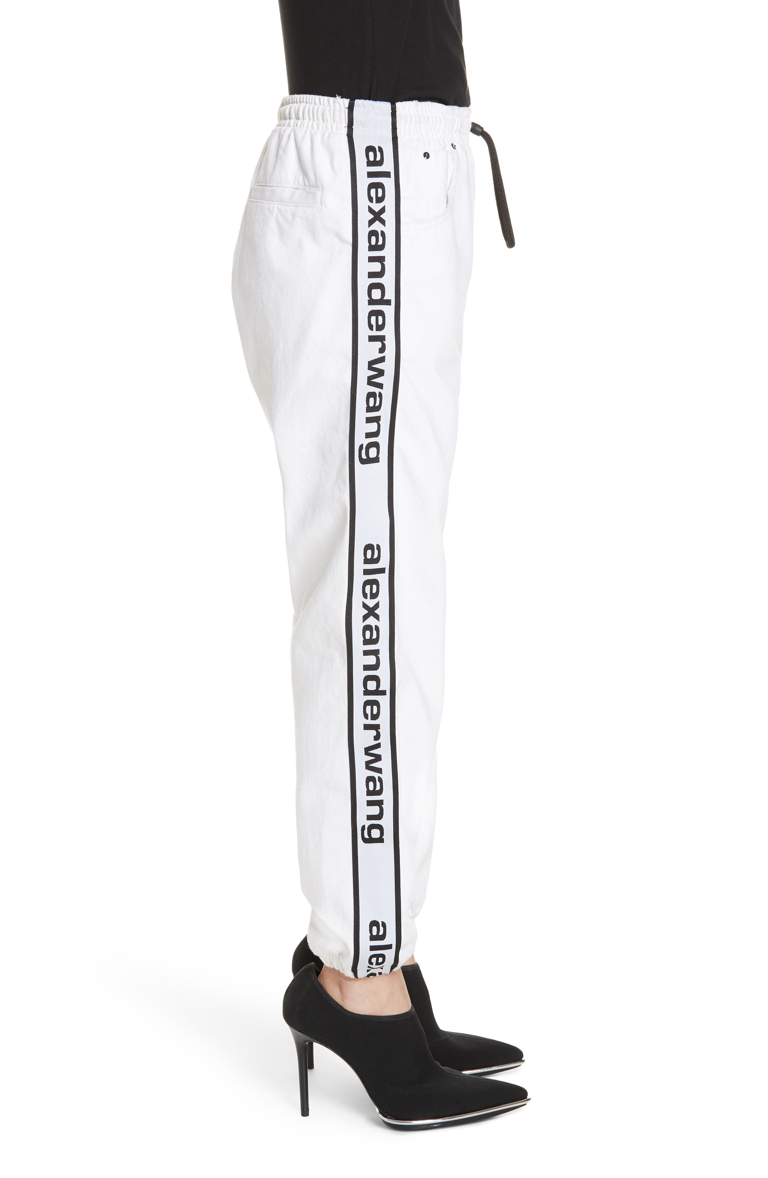 ALEXANDERWANG.T, Logo Stripe Track Pants, Alternate thumbnail 4, color, OPTIC WHITE