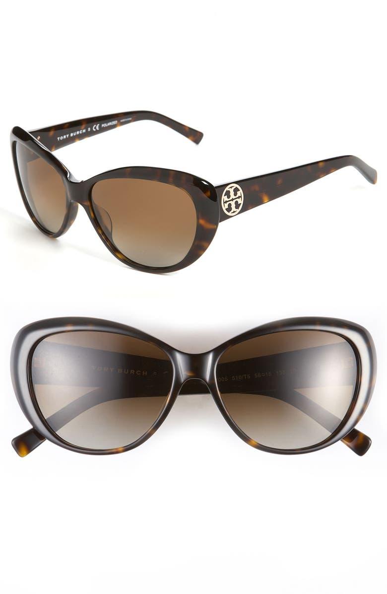 d94ab8d3ee62 TORY BURCH 56mm Polarized Cat's Eye Sunglasses, Main, color, ...