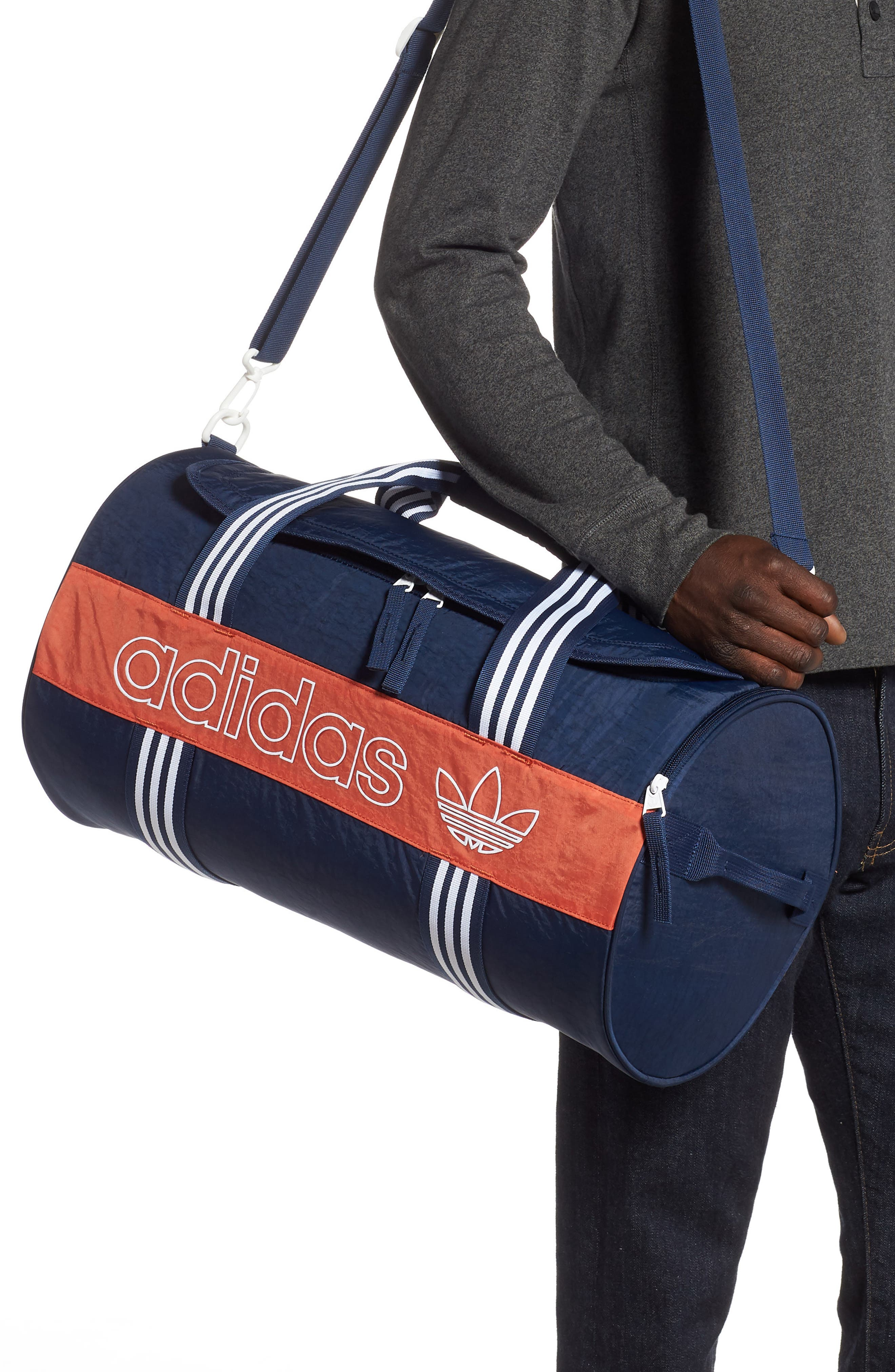 ADIDAS ORIGINALS, adidas Spirit Roll Duffle Bag, Alternate thumbnail 2, color, COLLEGIATE NAVY/ AMBER/ WHITE