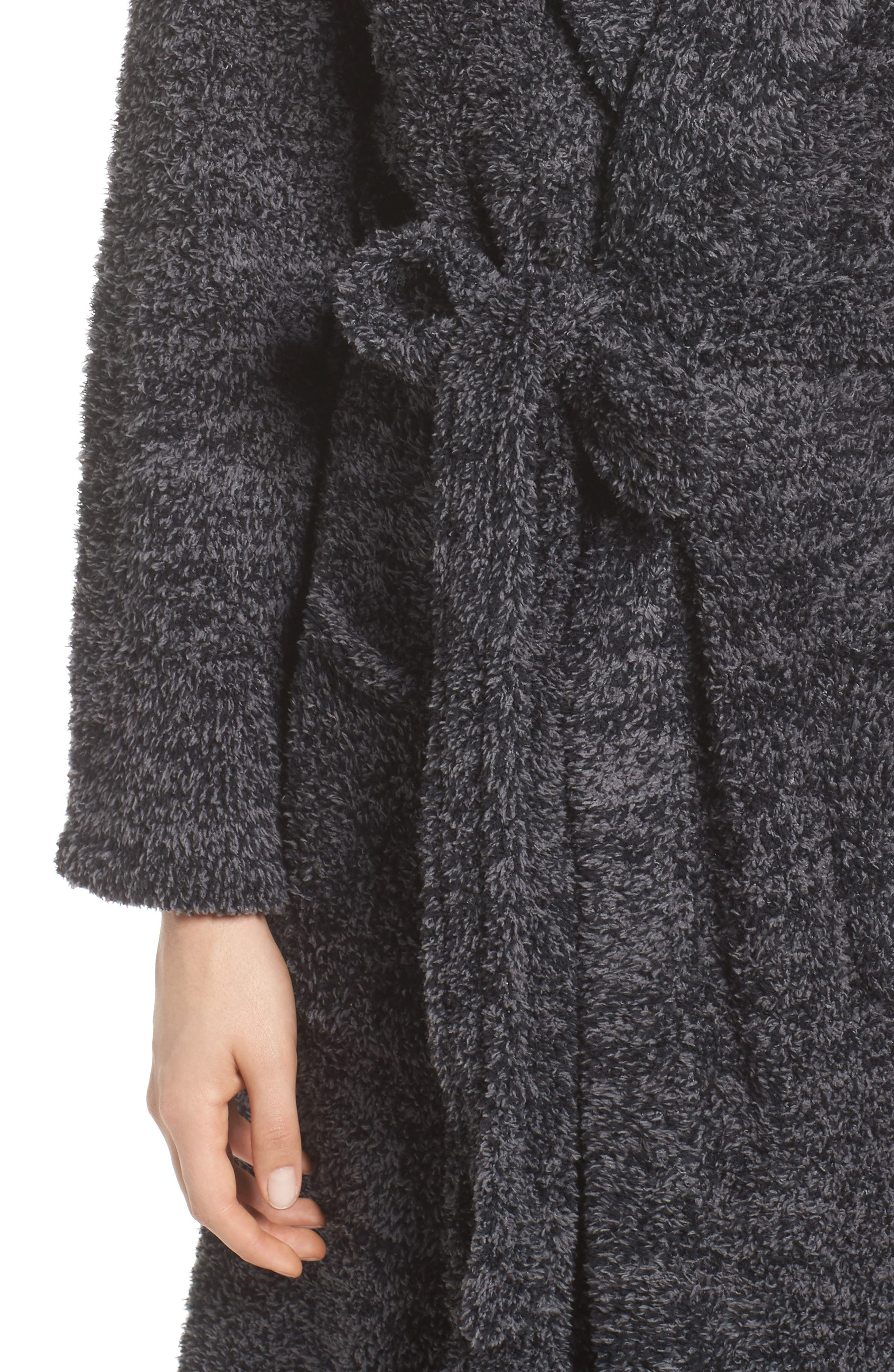 BAREFOOT DREAMS<SUP>®</SUP>, CozyChic<sup>®</sup> Robe, Alternate thumbnail 4, color, BLACK/ GRAPHITE