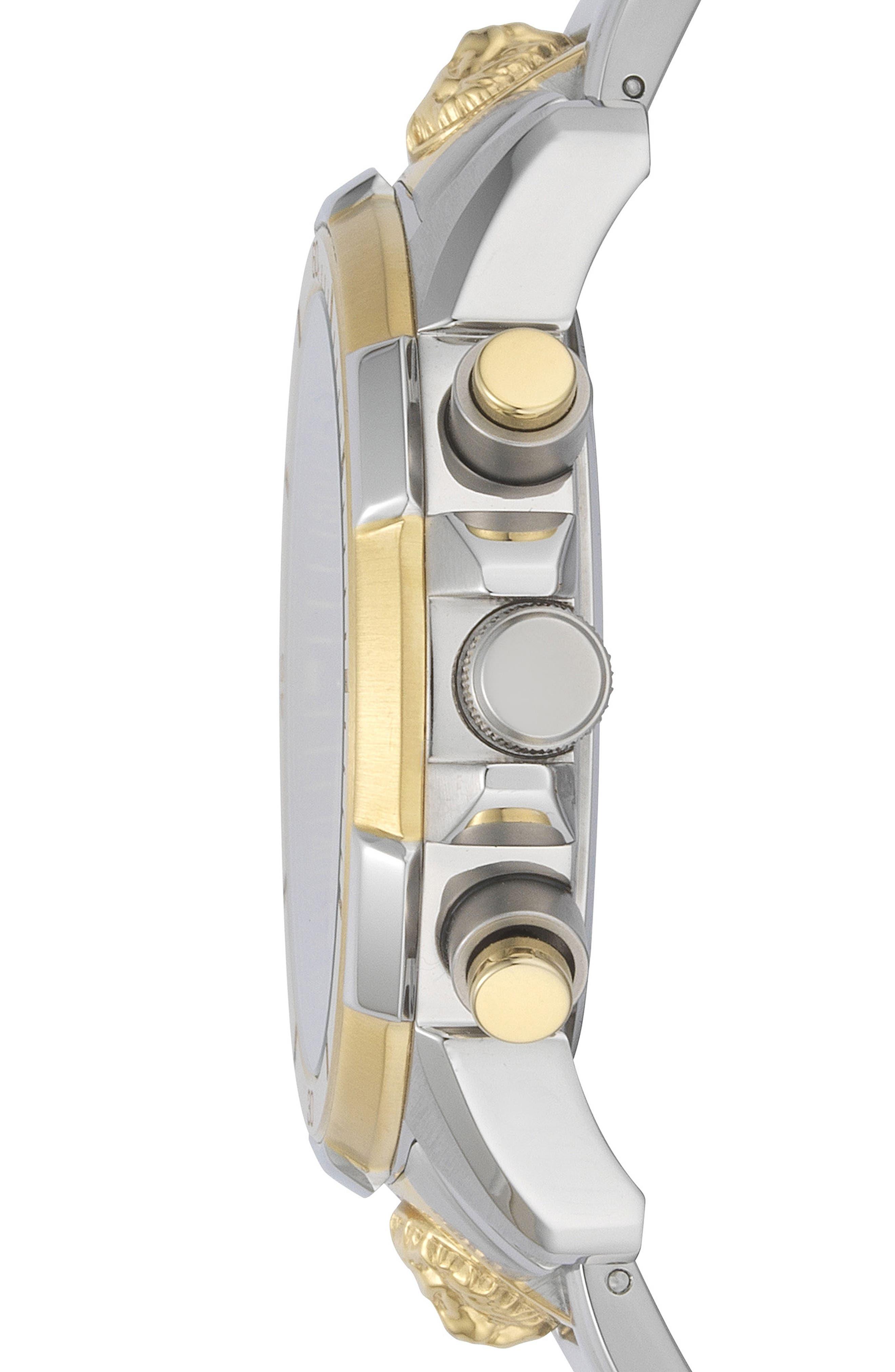 VERSUS VERSACE, Arrondissement Chronograph Bracelet Watch, 46mm, Alternate thumbnail 2, color, SILVER/ BLUE/ GOLD