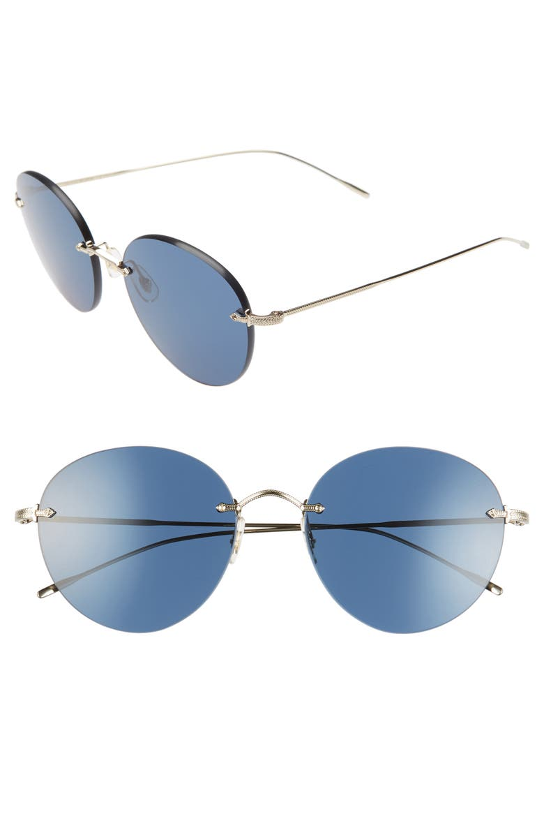 Oliver Peoples Sunglasses COLIENA 57MM ROUND SUNGLASSES - SOFT GOLD/ DARK BLUE