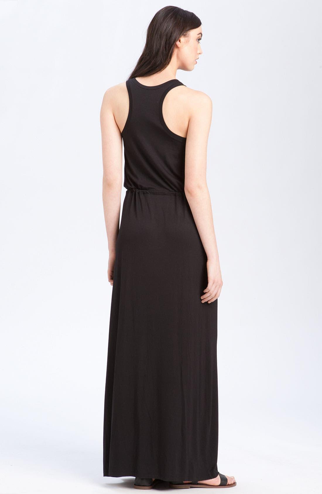 CASLON<SUP>®</SUP>, Racerback Jersey Maxi Dress, Alternate thumbnail 4, color, 001