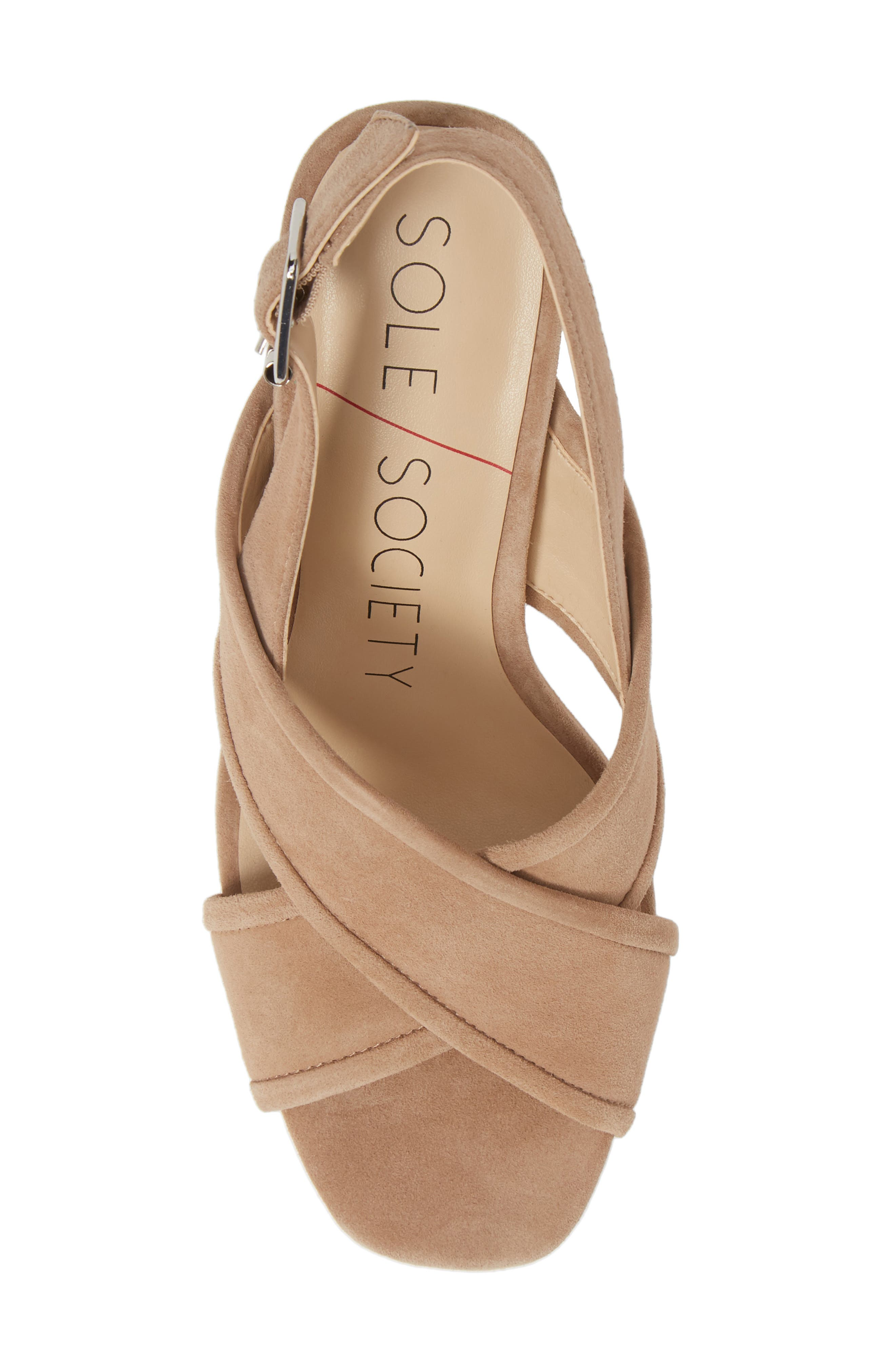 SOLE SOCIETY, Joree Slingback Sandal, Alternate thumbnail 5, color, DUSTED TAUPE SUEDE