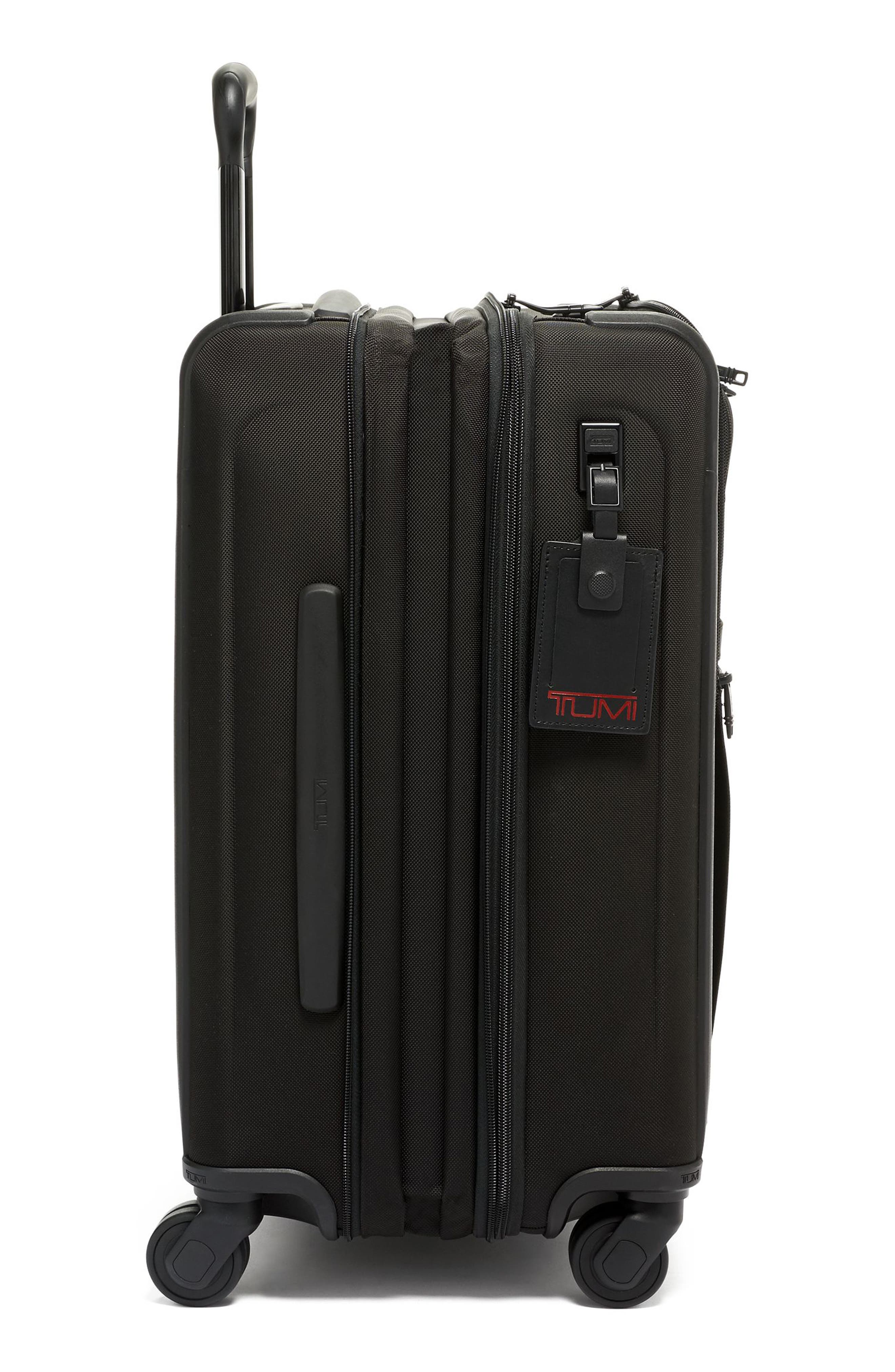 TUMI, Alpha 3 Collection 22-Inch Wheeled Dual Access Continental Carry-On, Alternate thumbnail 3, color, BLACK