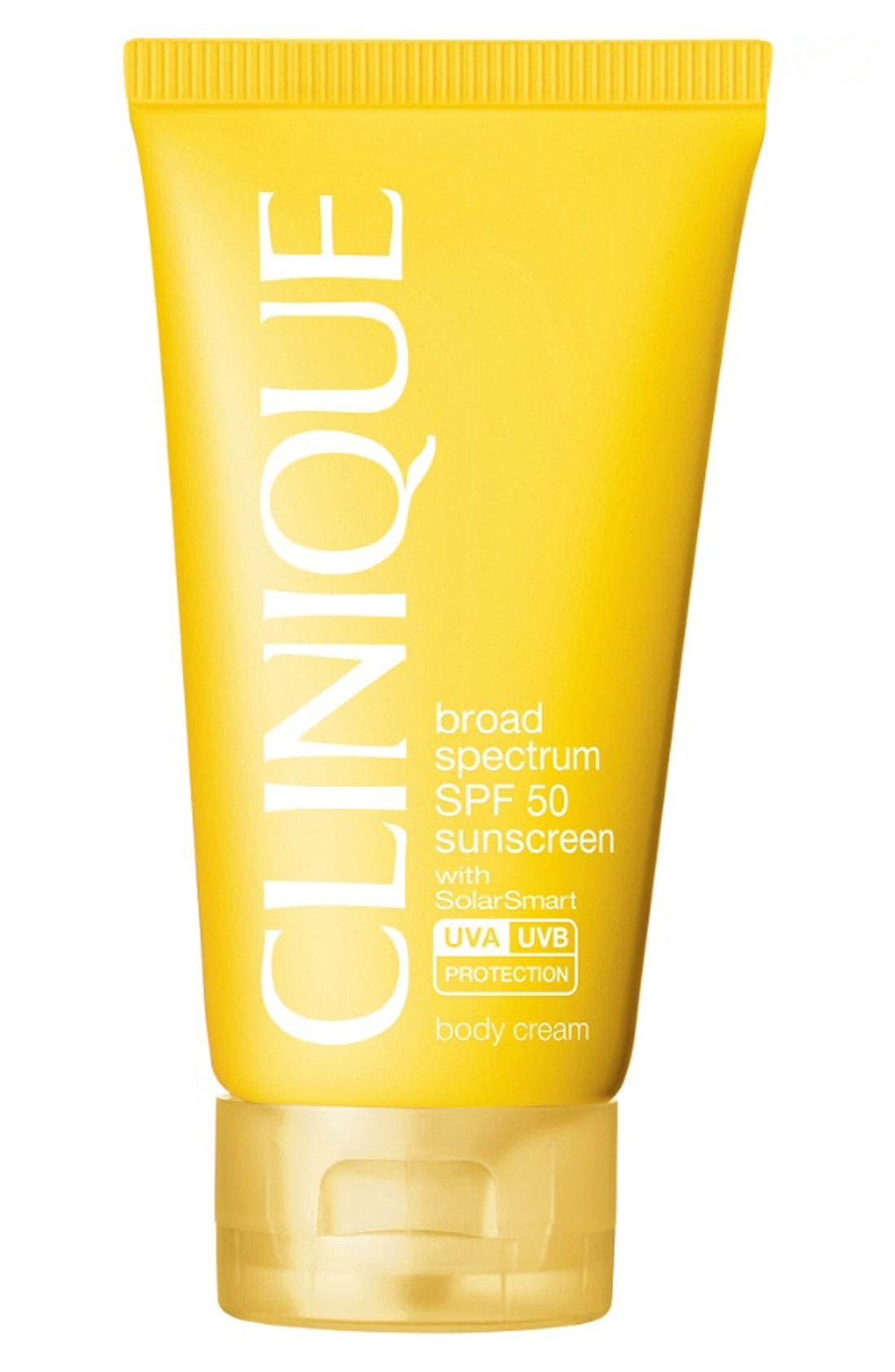 CLINIQUE, Sun Broad Spectrum SPF 50 Body Cream, Main thumbnail 1, color, NO COLOR