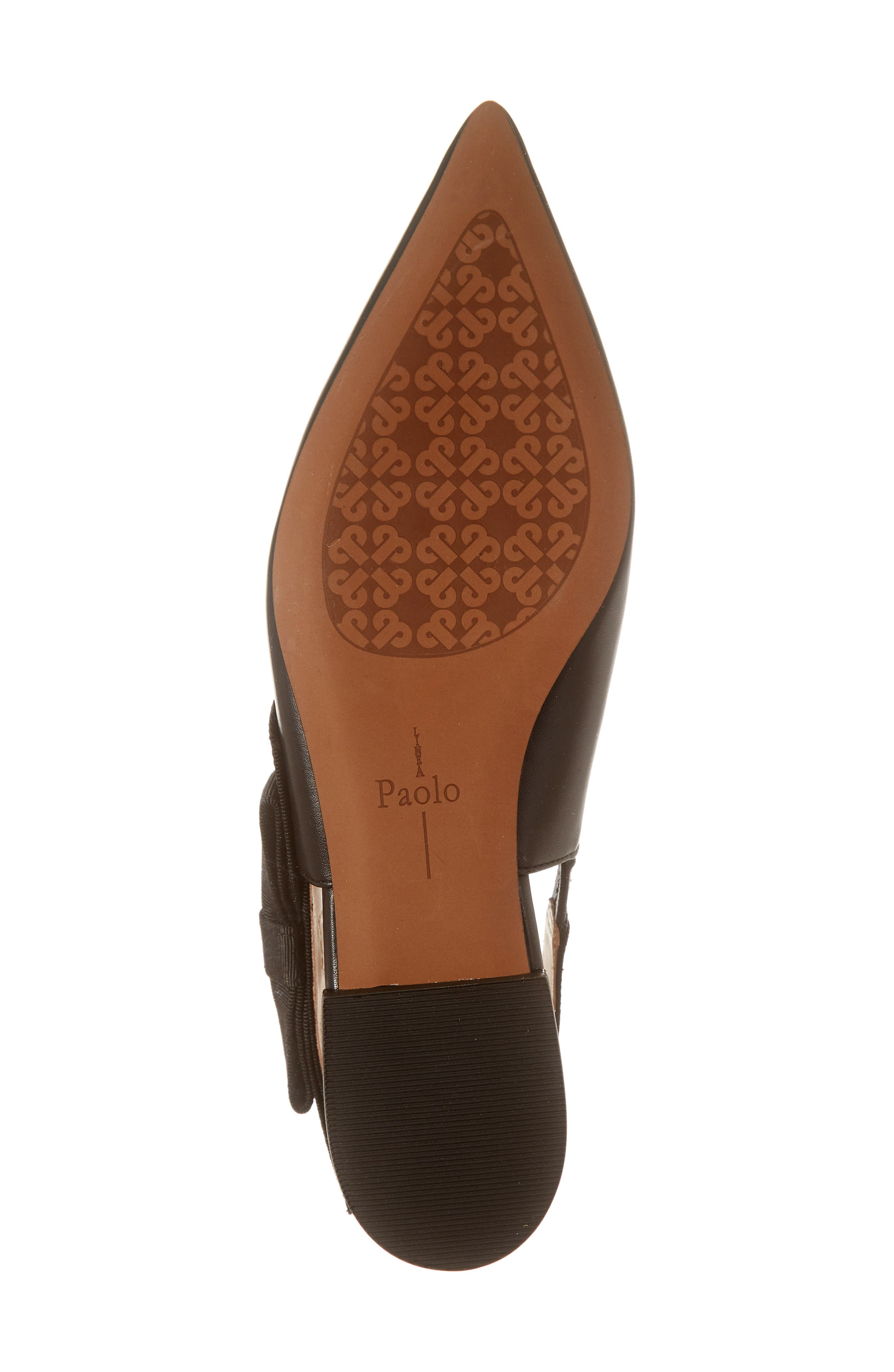 LINEA PAOLO, Darcy Bow Slingback Flat, Alternate thumbnail 6, color, BLACK LEATHER