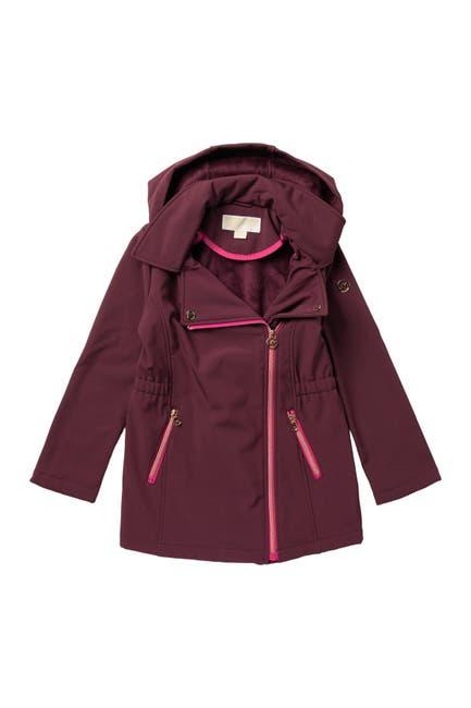 Image of Michael Kors Asymmetrical Hooded Soft Shell Jacket