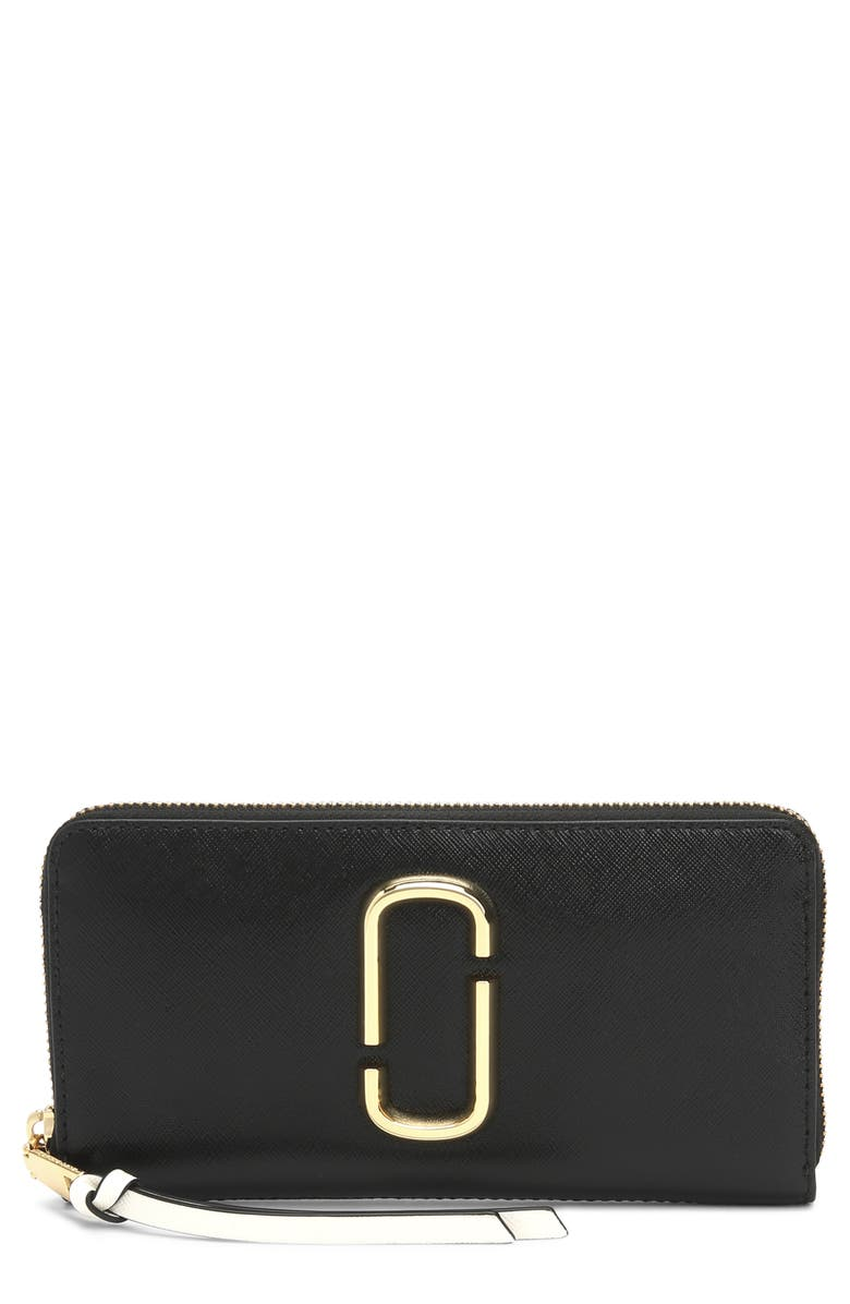MARC JACOBS Snapshot Leather Continental Wallet, Main, color, 001