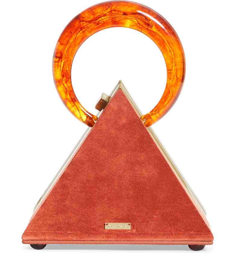 CULT GAIA Thalia Pyramid Top Handle Suede Bag, Main, color, AMB AMBER