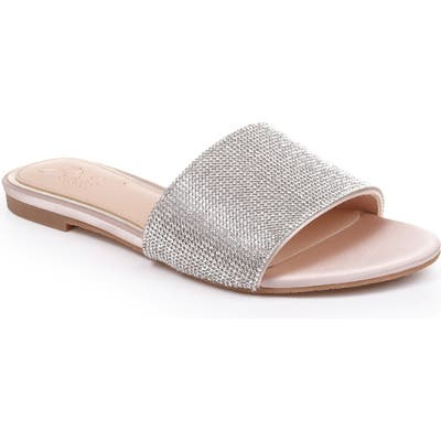Jewel Badgley Mischka Khaleesi Crystal Slide Sandal- Beige