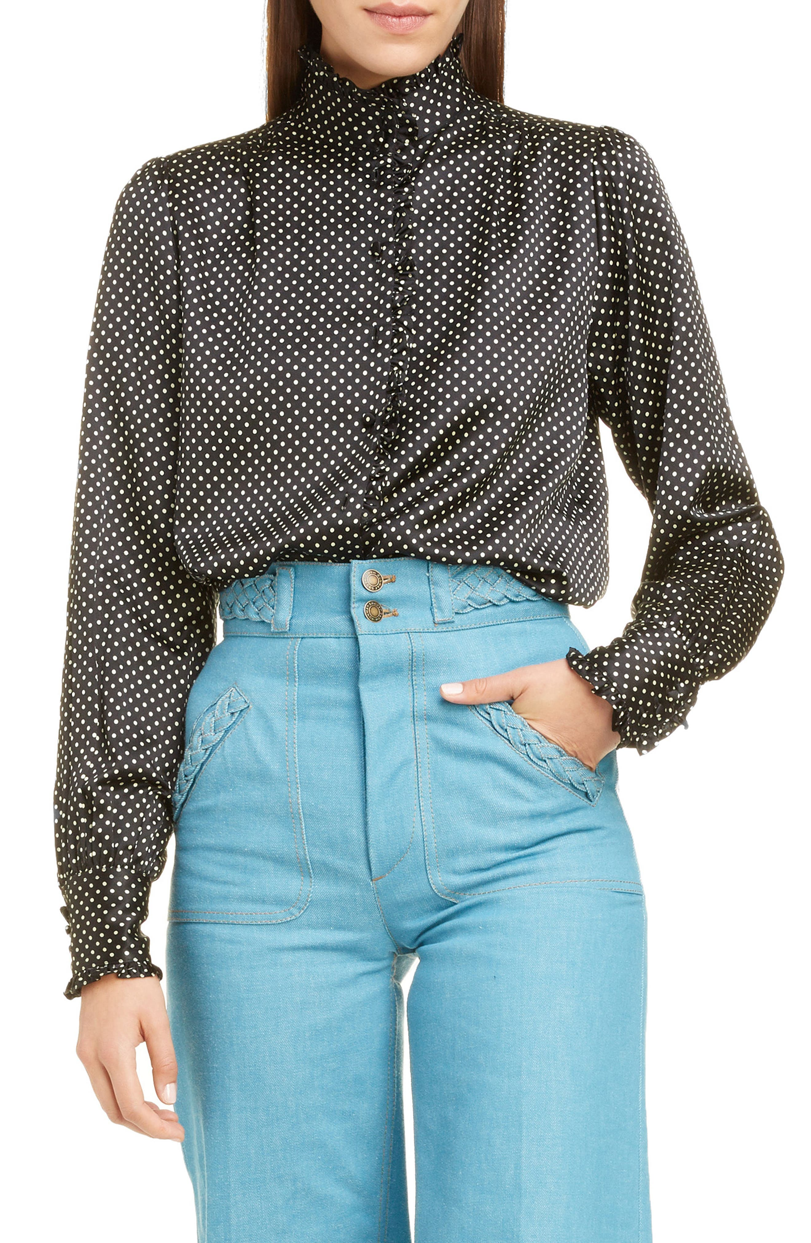 Frilly trim enhances the whimsical appeal of this polka-dot blouse fashioned from light, luminous silk. Style Name: Runway Marc Jacobs Ruffle Trim Polka Dot Silk Blouse. Style Number: 6031175. Available in stores.