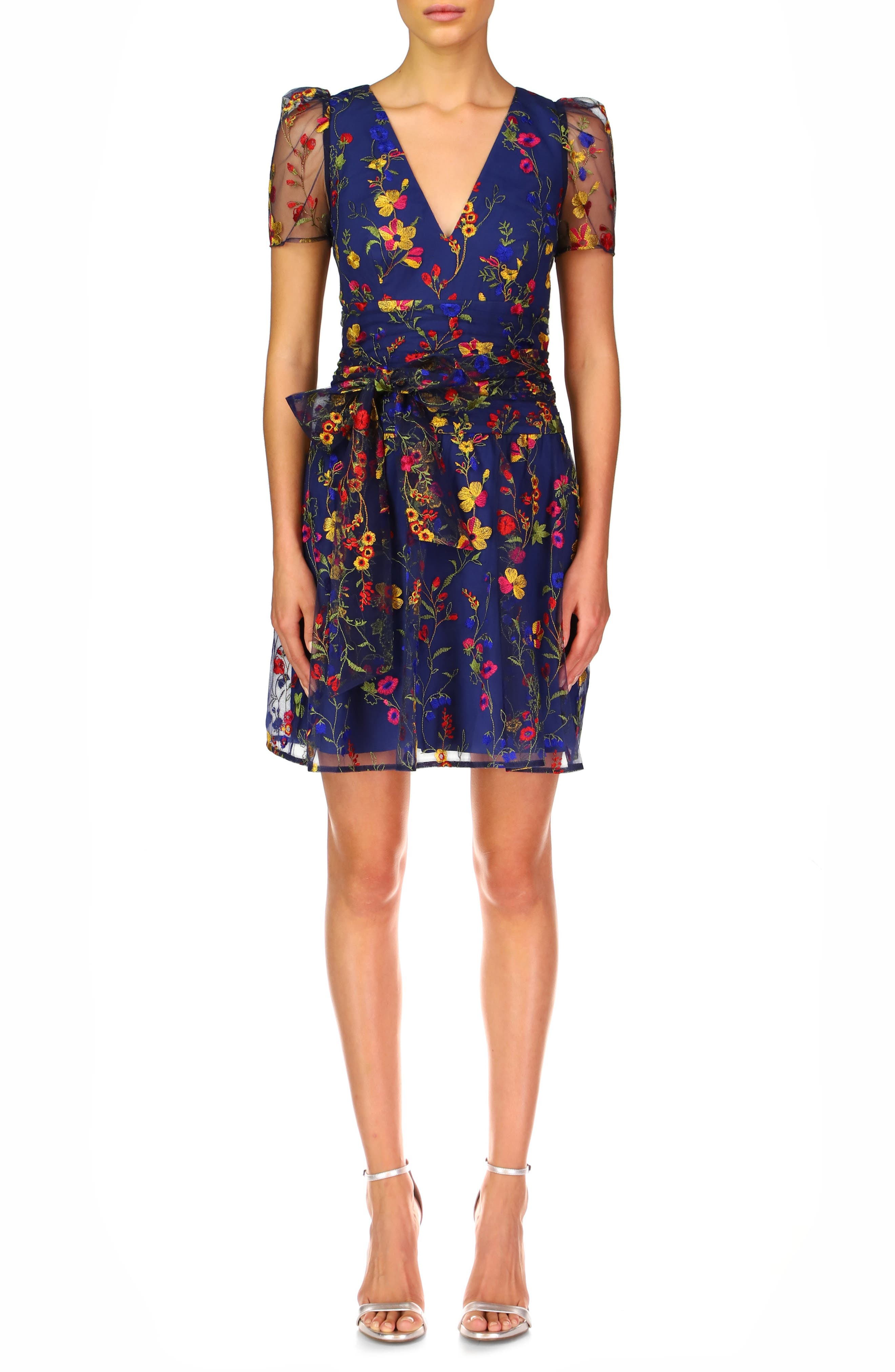 Embroidered Puff Sleeve Cocktail Dress