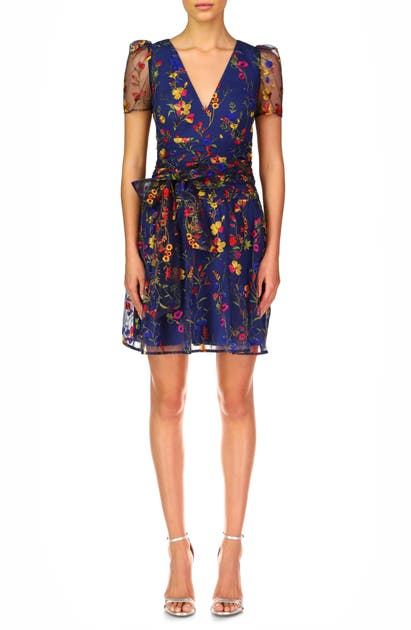 Ml Monique Lhuillier Dresses EMBROIDERED PUFF SLEEVE COCKTAIL DRESS
