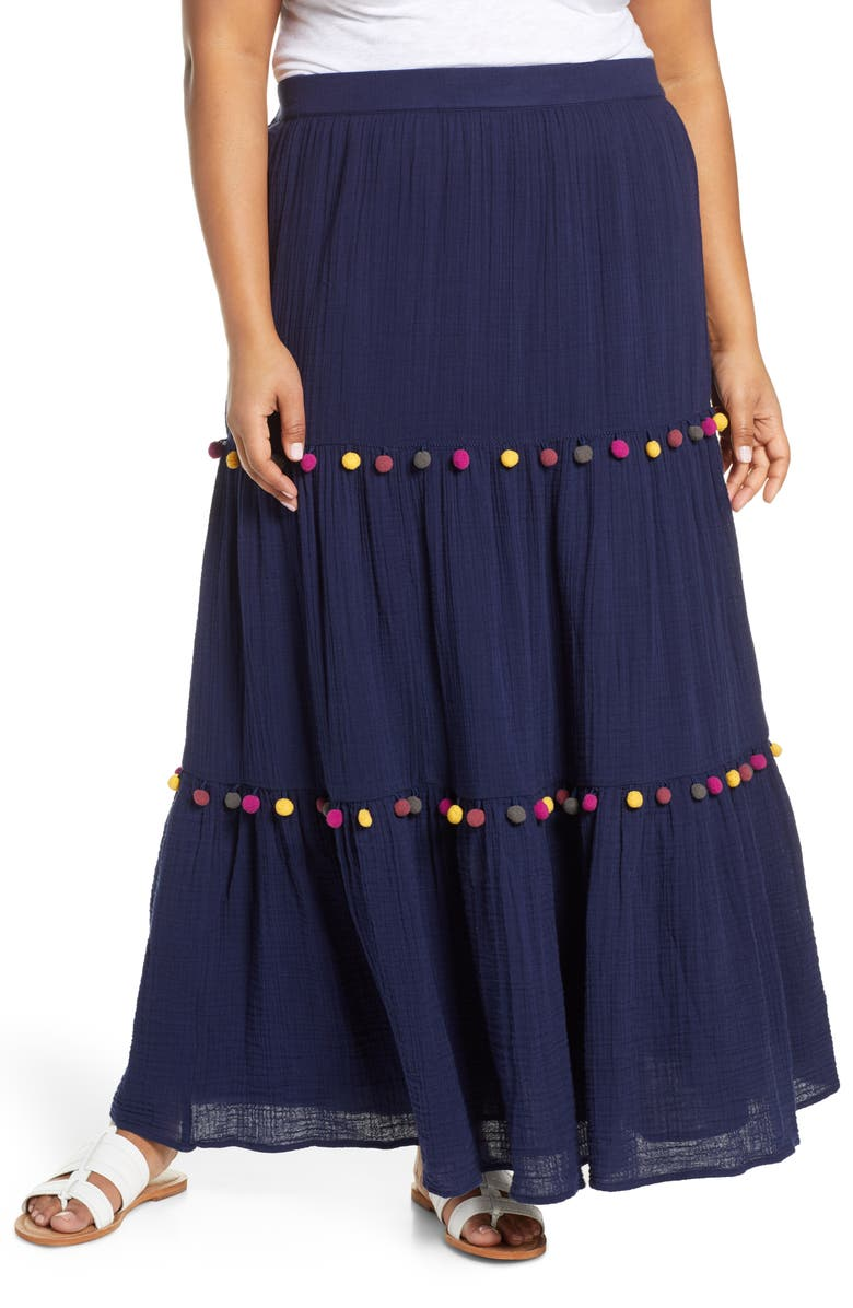 CASLON<SUP>®</SUP> Tiered Pompom Cotton Maxi Skirt, Main, color, NAVY PEACOAT