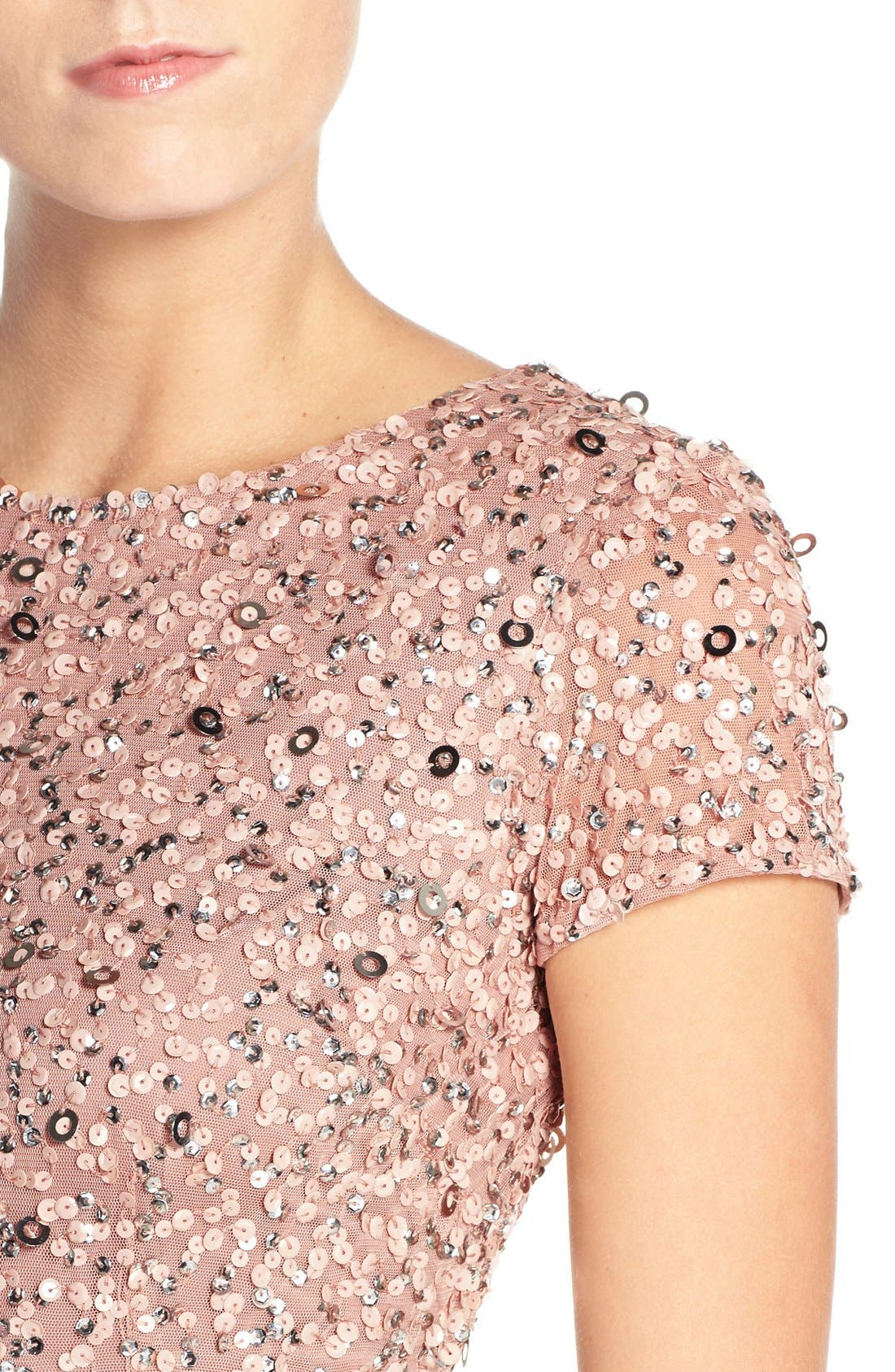 ,                             Short Sleeve Sequin Mesh Gown,                             Alternate thumbnail 60, color,                             691