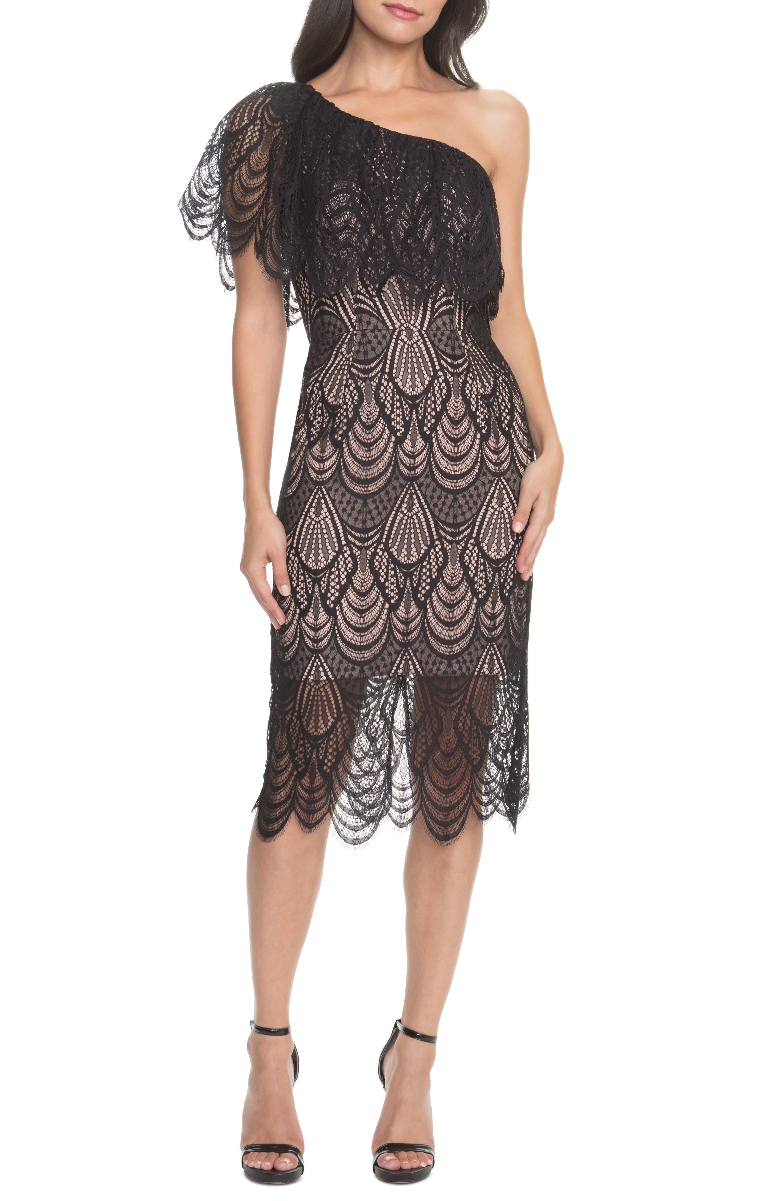 Dress The Population Violet One Shoulder Lace Sheath Dress, Black