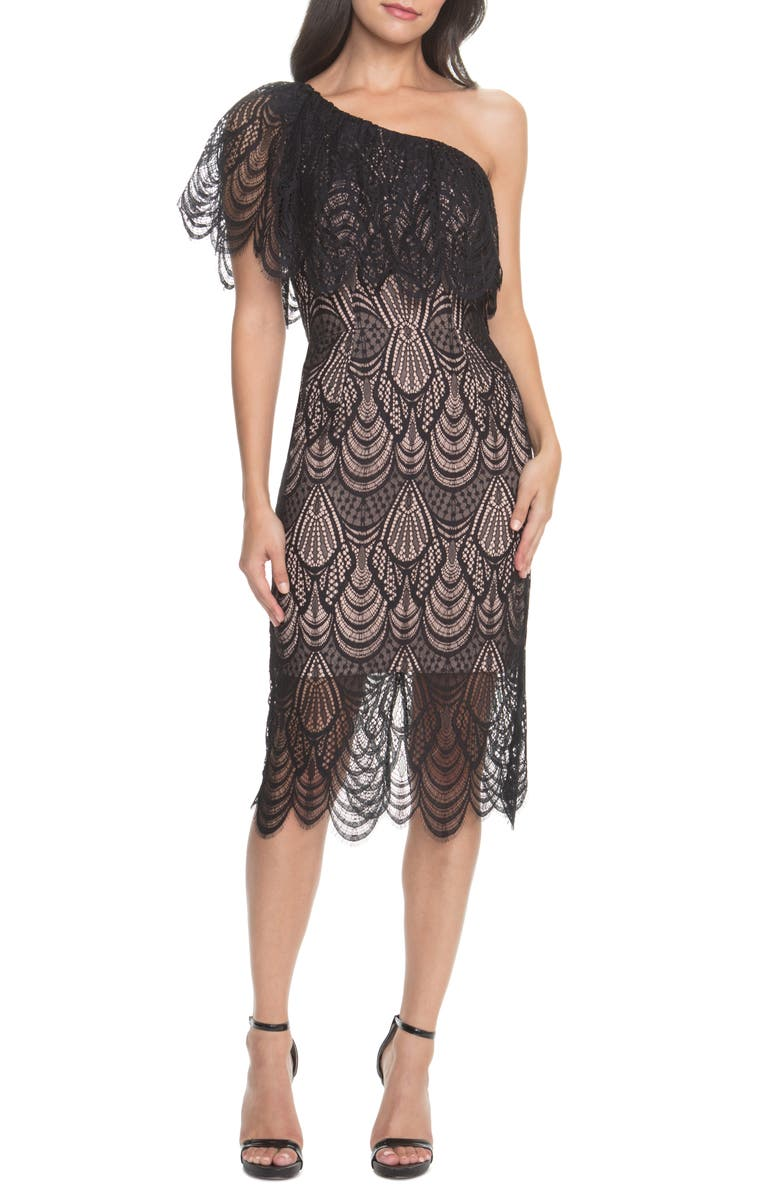DRESS THE POPULATION Violet One Shoulder Lace Sheath Dress, Main, color, BLACK