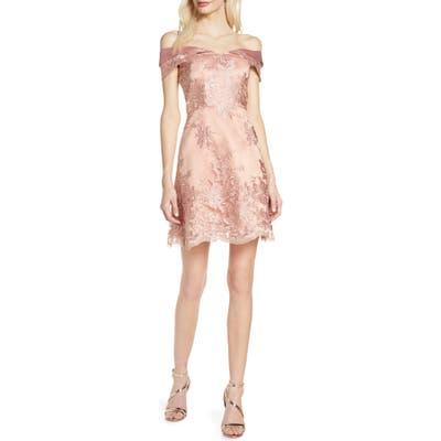 Chi Chi London Jameela Off The Shoulder Embroidered Cocktail Dress, Pink