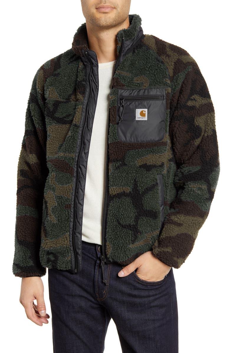 CARHARTT WORK IN PROGRESS Prentis Camo Fleece Jacket, Main, color, CAMO EVERGREEN