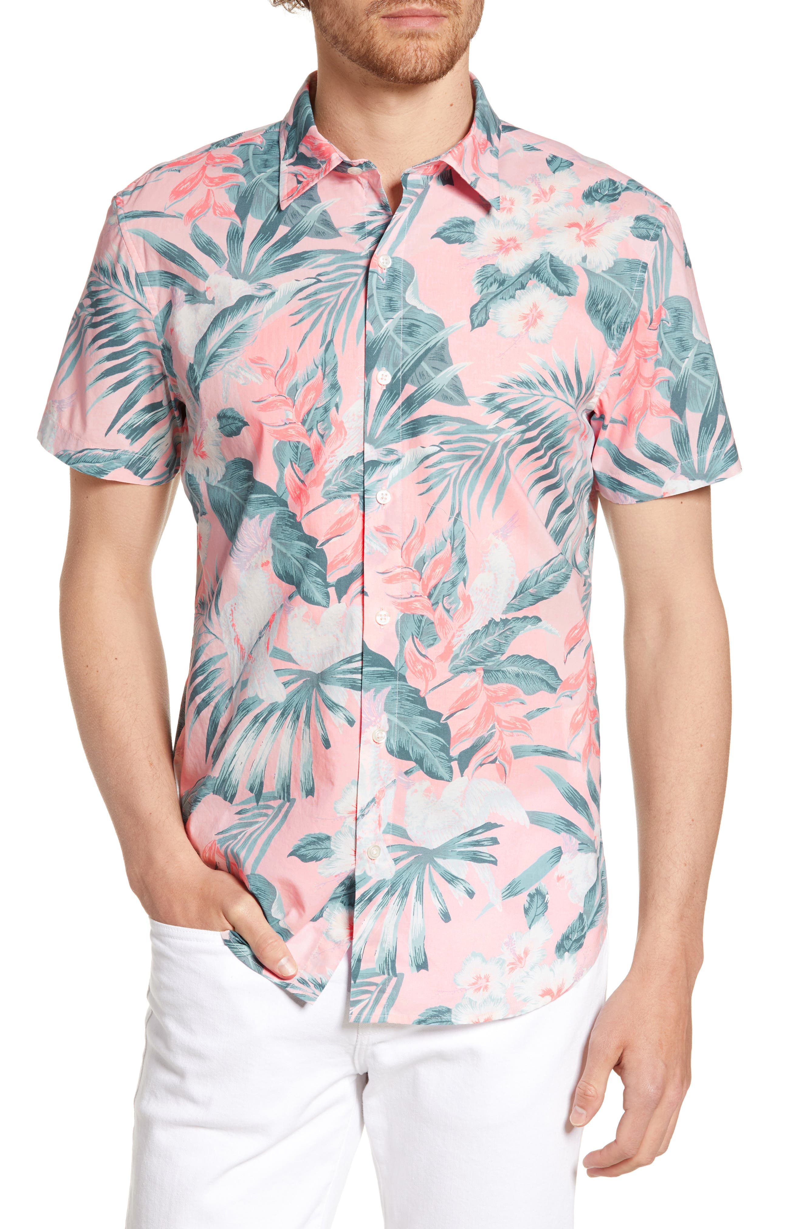 Tropical foliage adds an easy island vibe to a crisp cotton sport shirt cut for a dapper slim fit. Style Name: Bonobos Riviera Slim Fit Tropical Print Shirt. Style Number: 5833467. Available in stores.