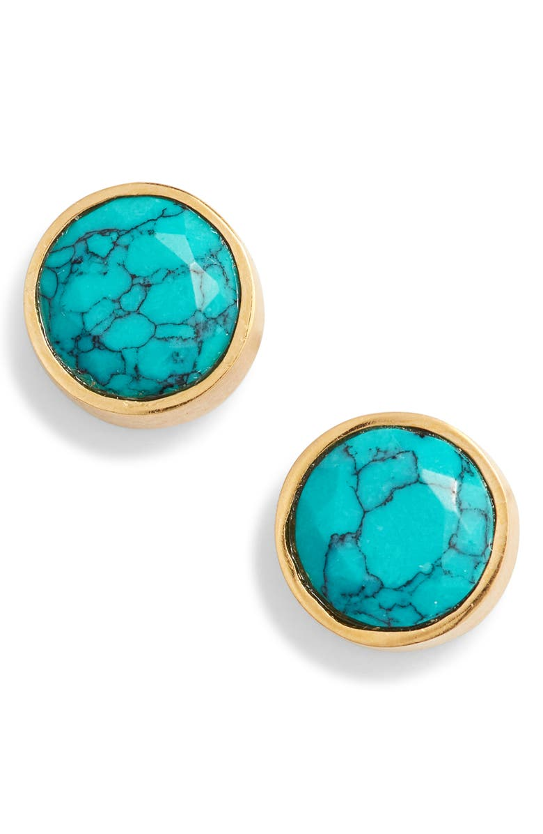 DEAN DAVIDSON Knockout Turquoise Stud Earrings, Main, color, GOLD/ TURQUOISE