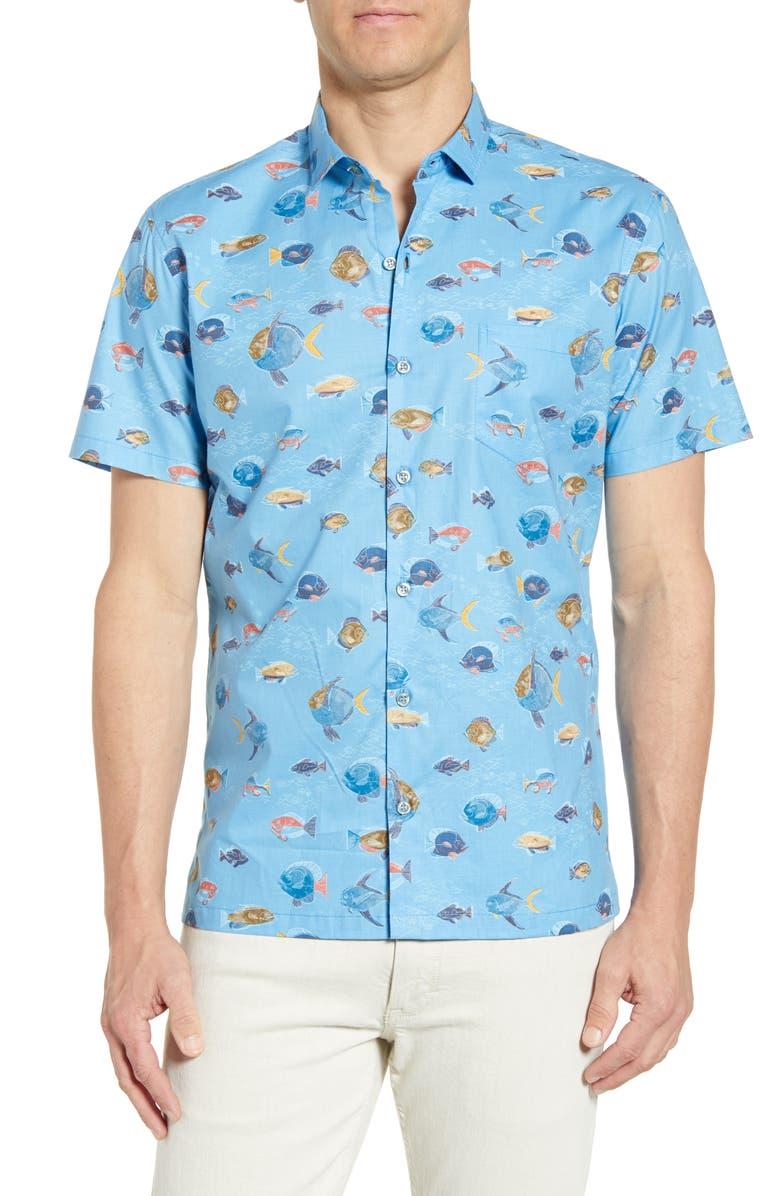 TORI RICHARD Hi School Regular Fit Short Sleeve Button-Up Shirt, Main, color, SURF